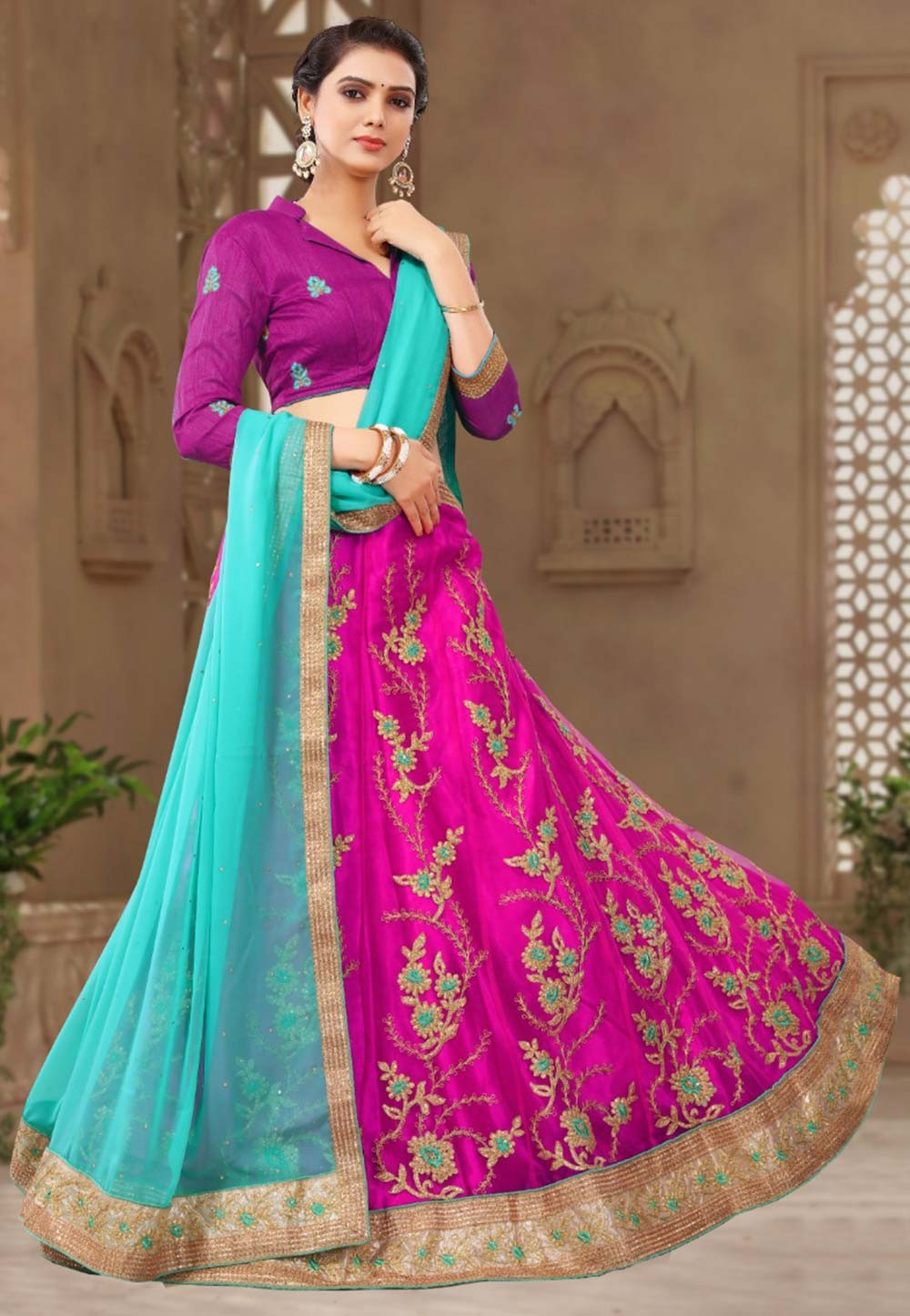 Magenta Colour Lehenga choli for bridesmaid
