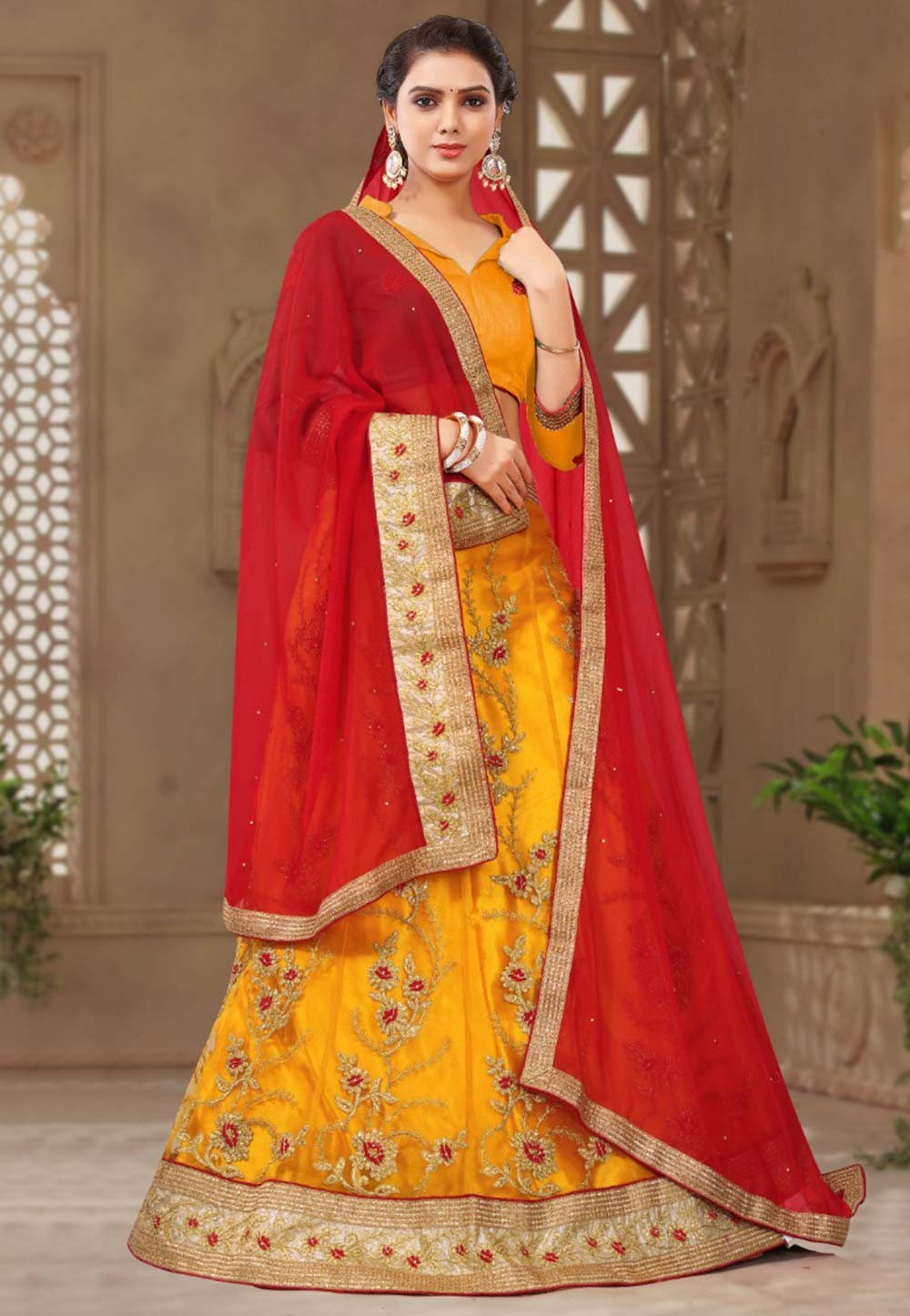 Yellow Colour Indian Bridesmaid lehenga online