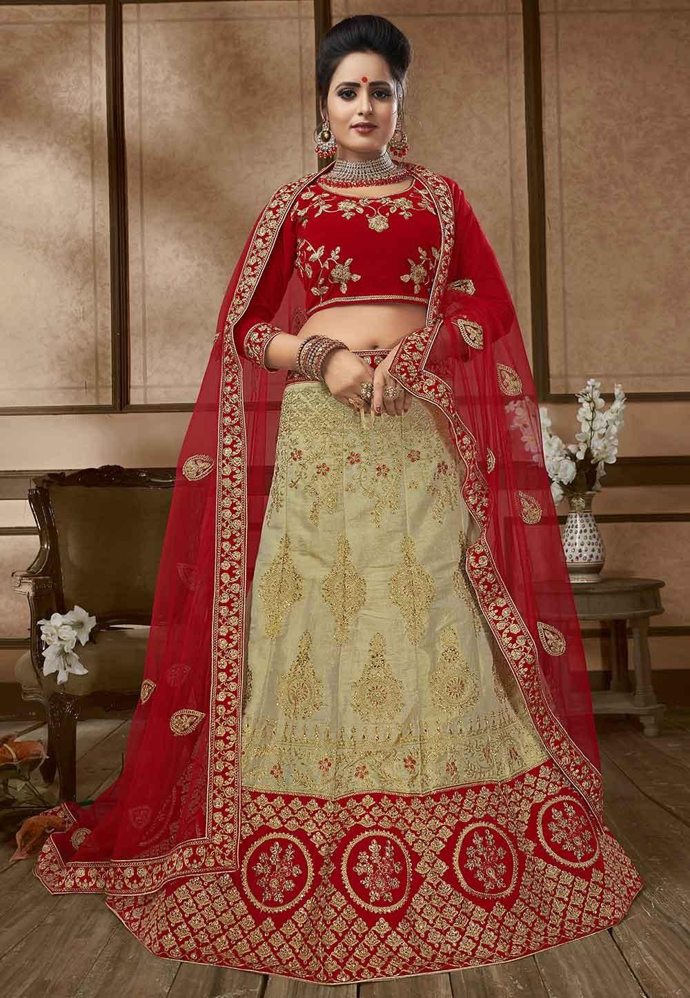 Beige,Red Colour Designer Lehenga.