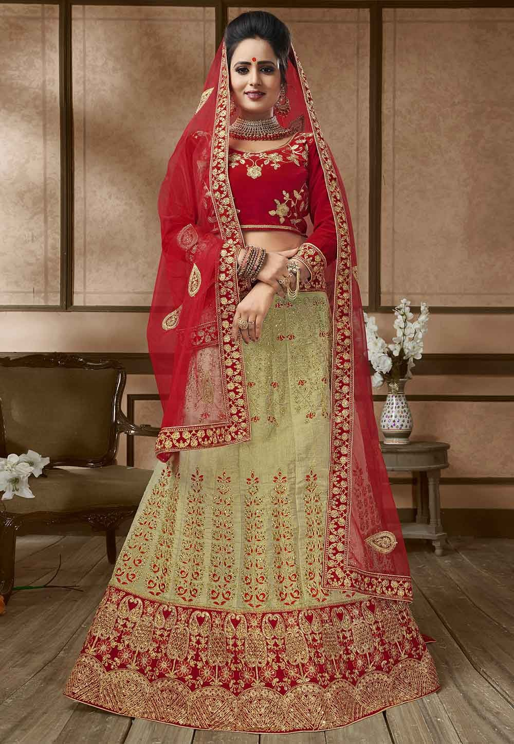 Beige,Red Colour Wedding Lehenga Choli.