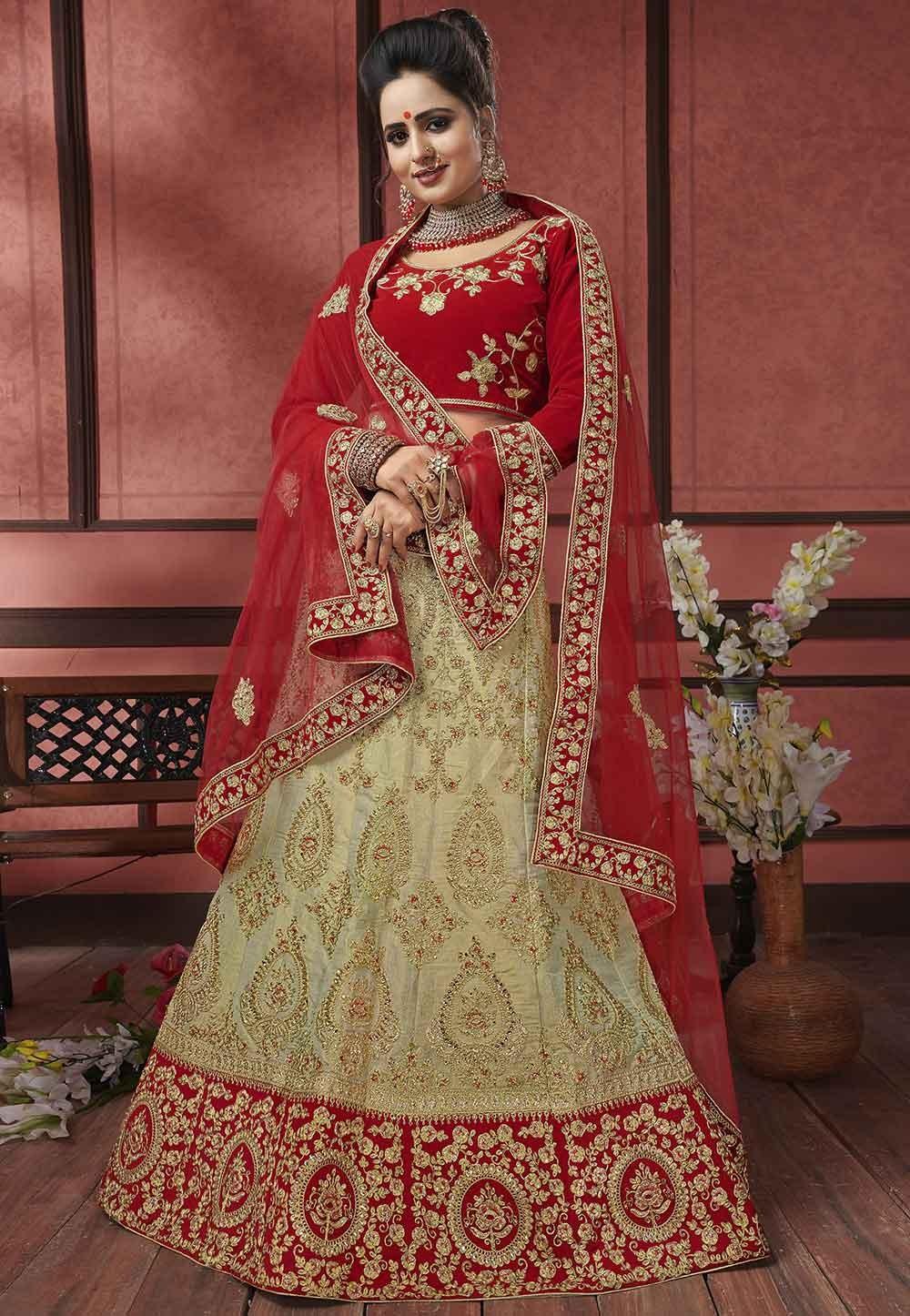 Beige,Red Colour Indian Designer Lehenga.