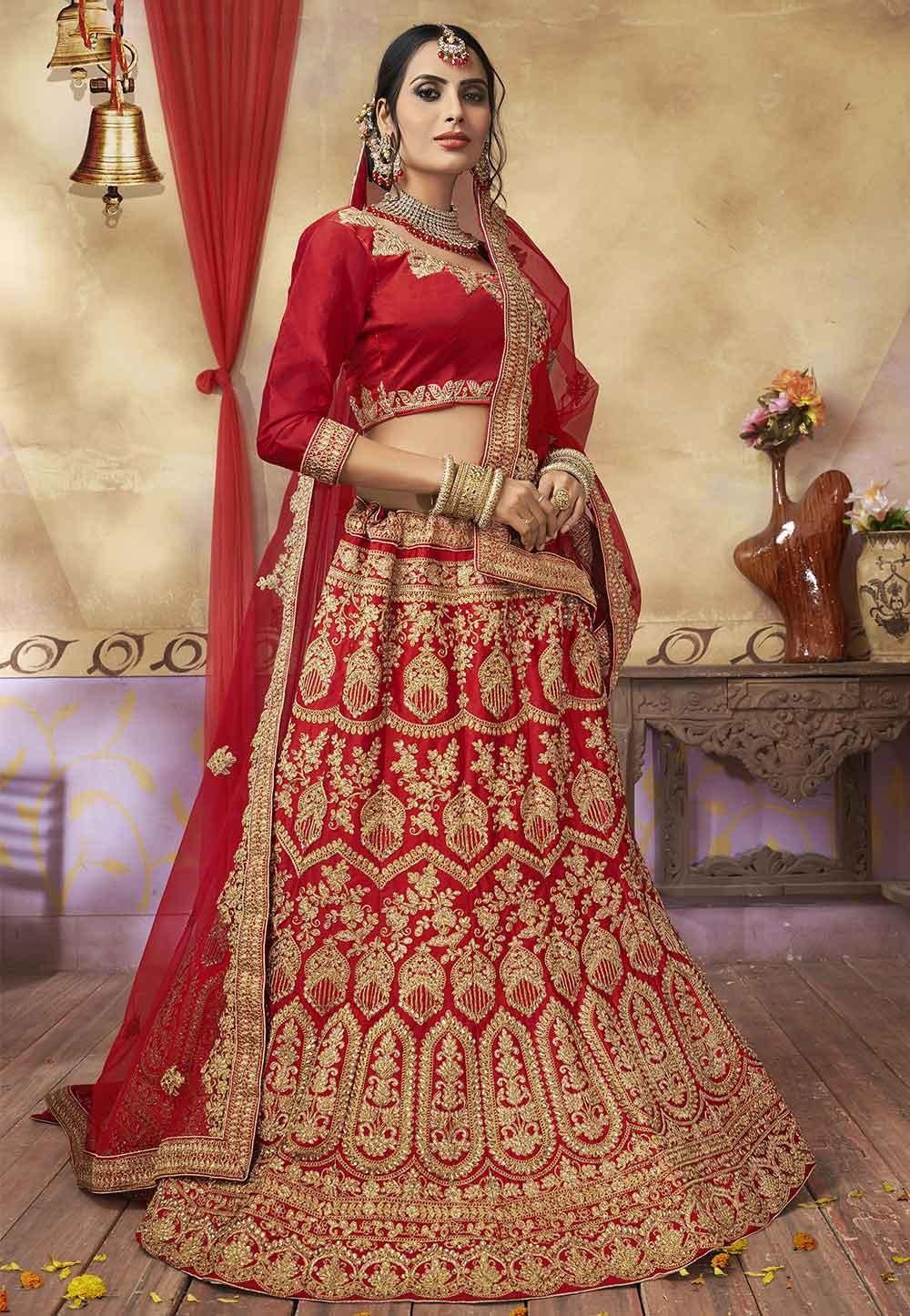 Red Colour Bridesmaid lehenga online