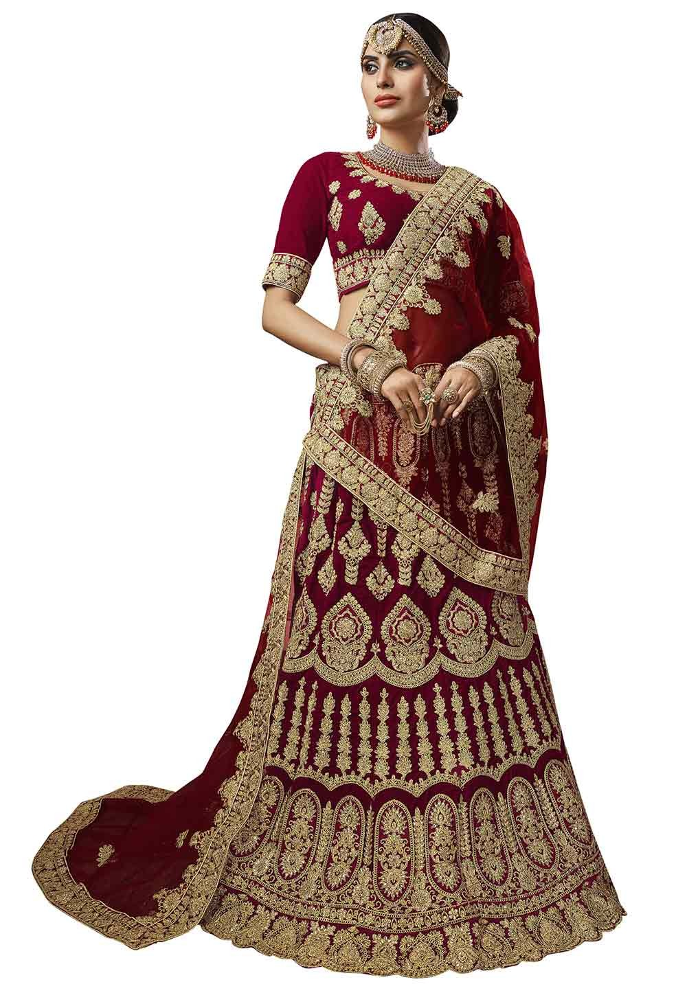 Maroon Colour Wedding Lehenga Choli.