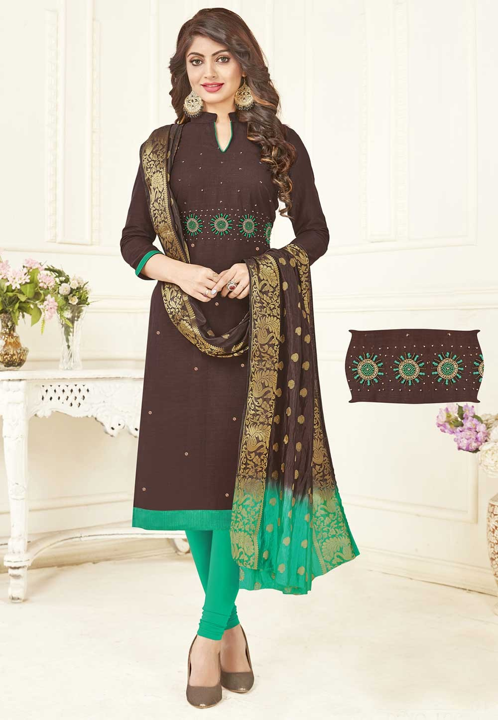 Buy Brown Colour Party Wear Indian Salwar Kameez Online