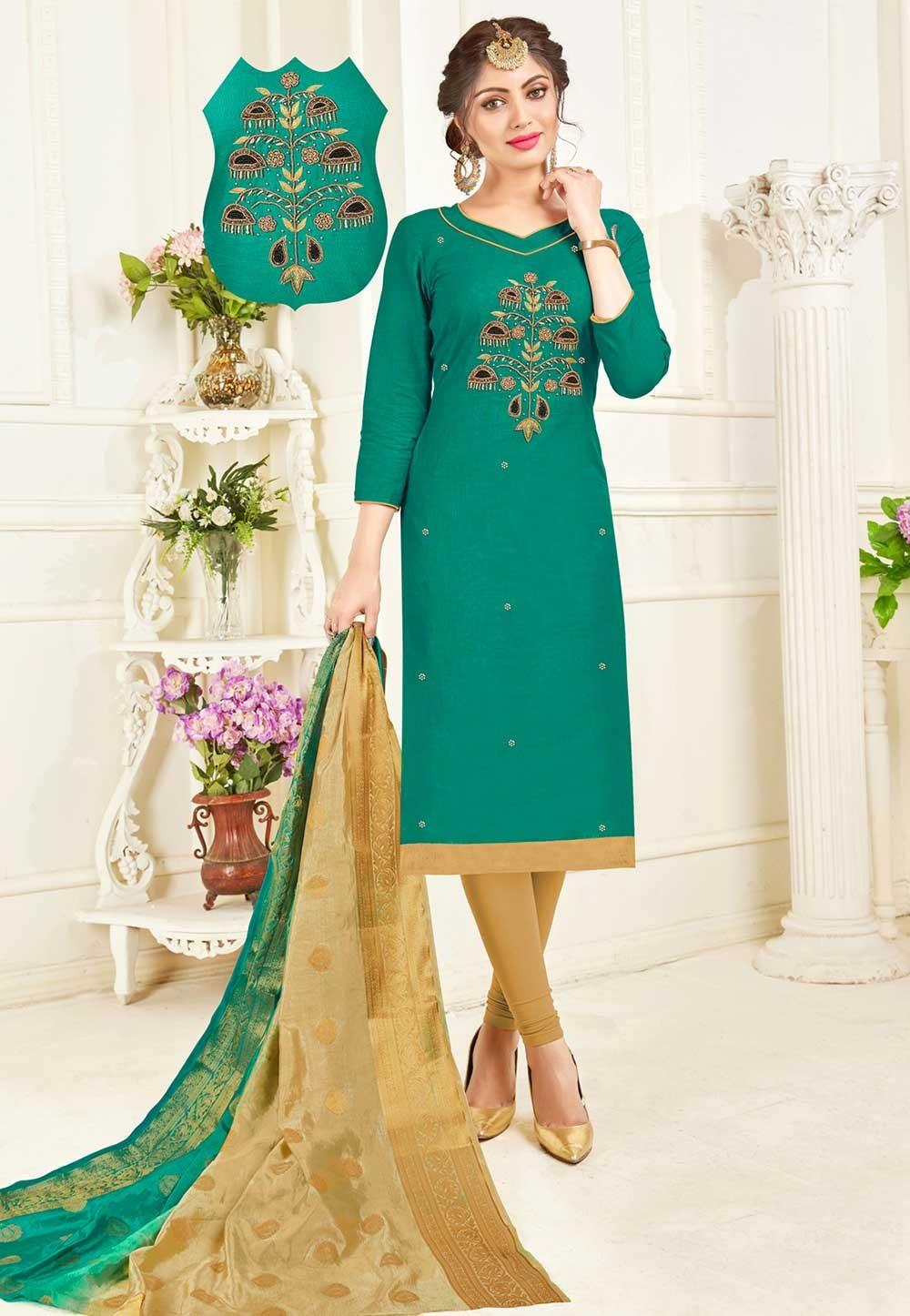 Buy Green Colour Indian Salwar Suit