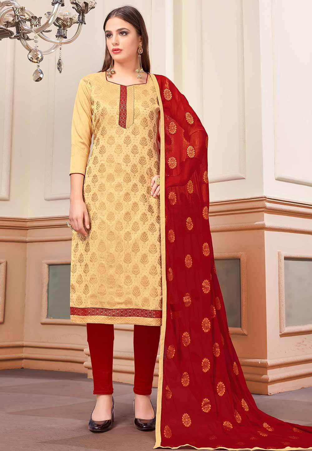Beige Colour Printed Salwar Kameez