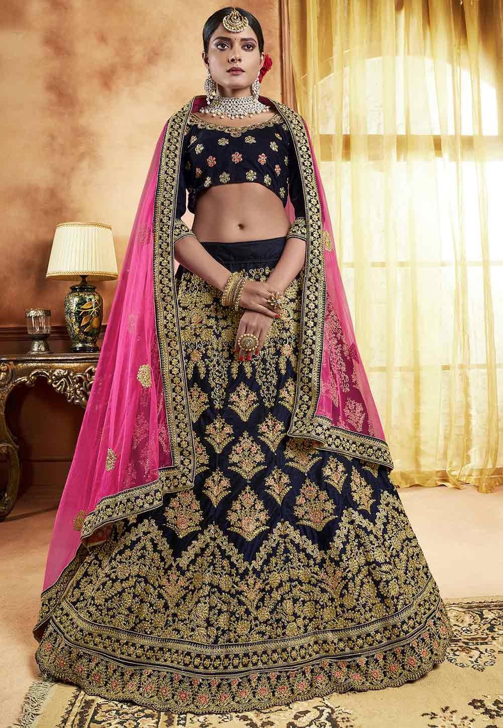 Buy designer wedding lehengas in blue colour for  engagement program