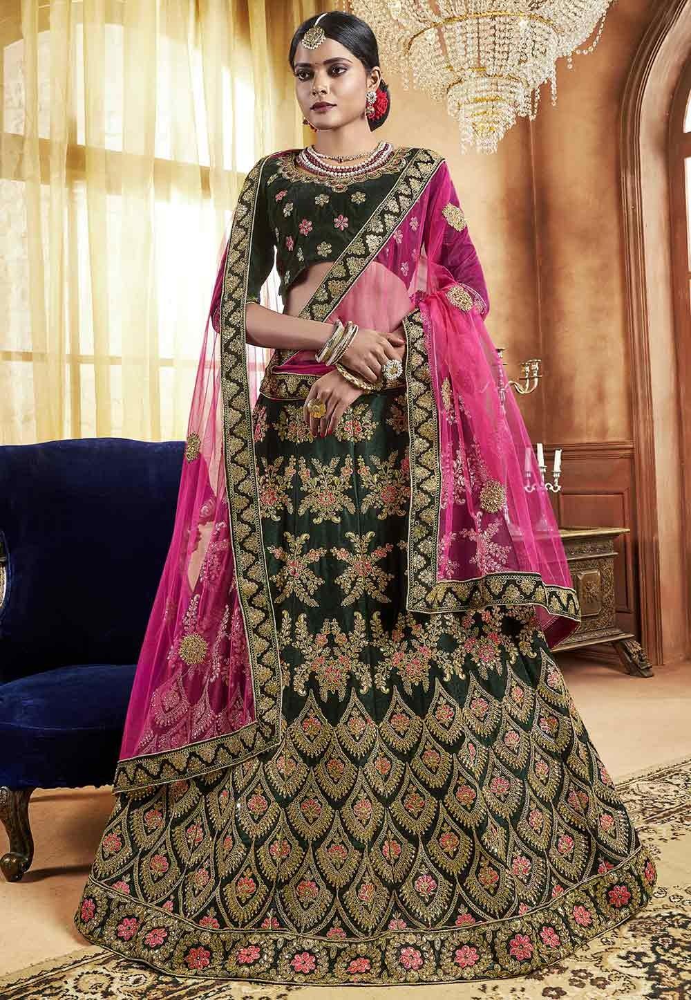 Green Colour Indian Lehenga online