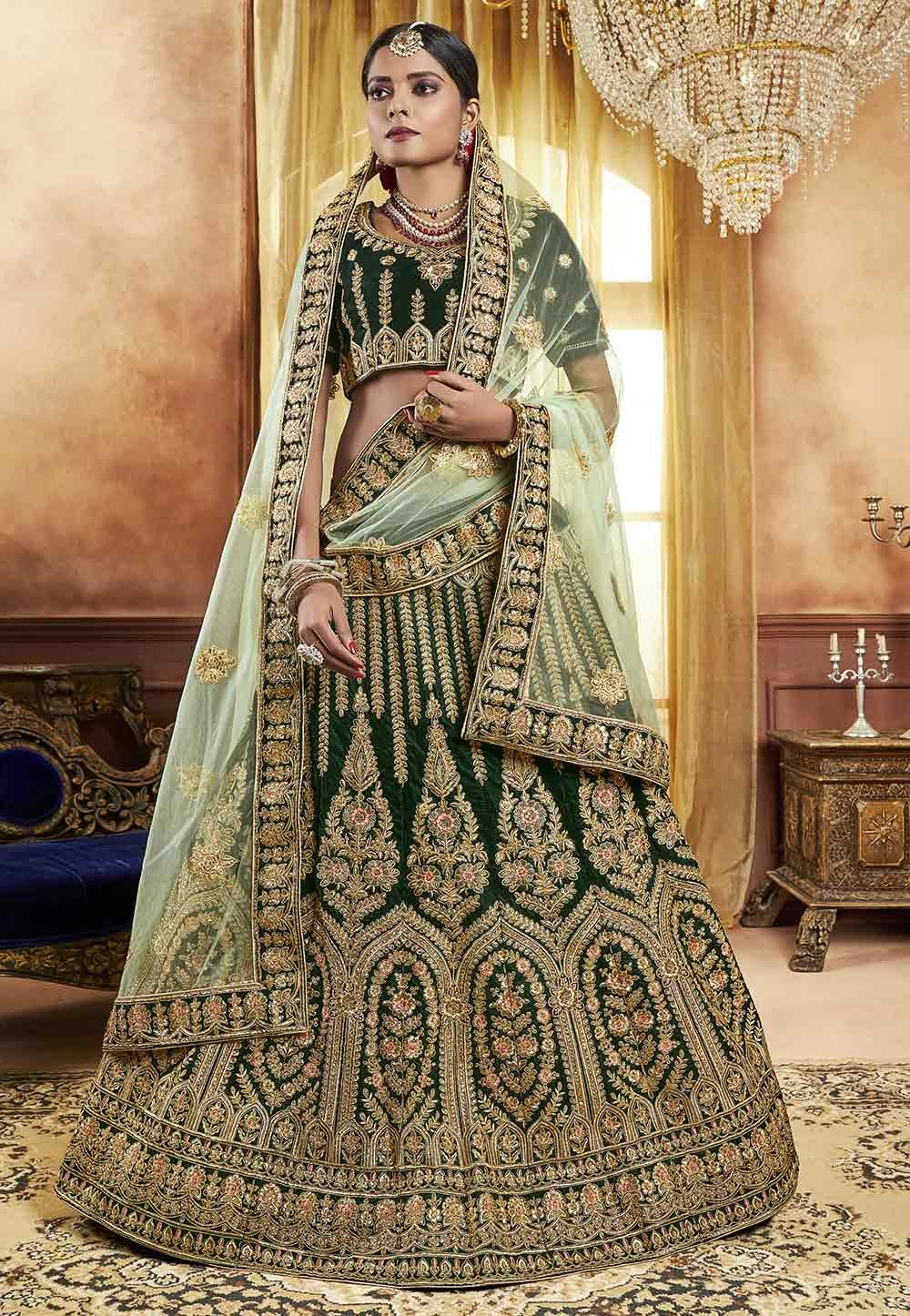 Green Colour Engagement Indian Lehenga online