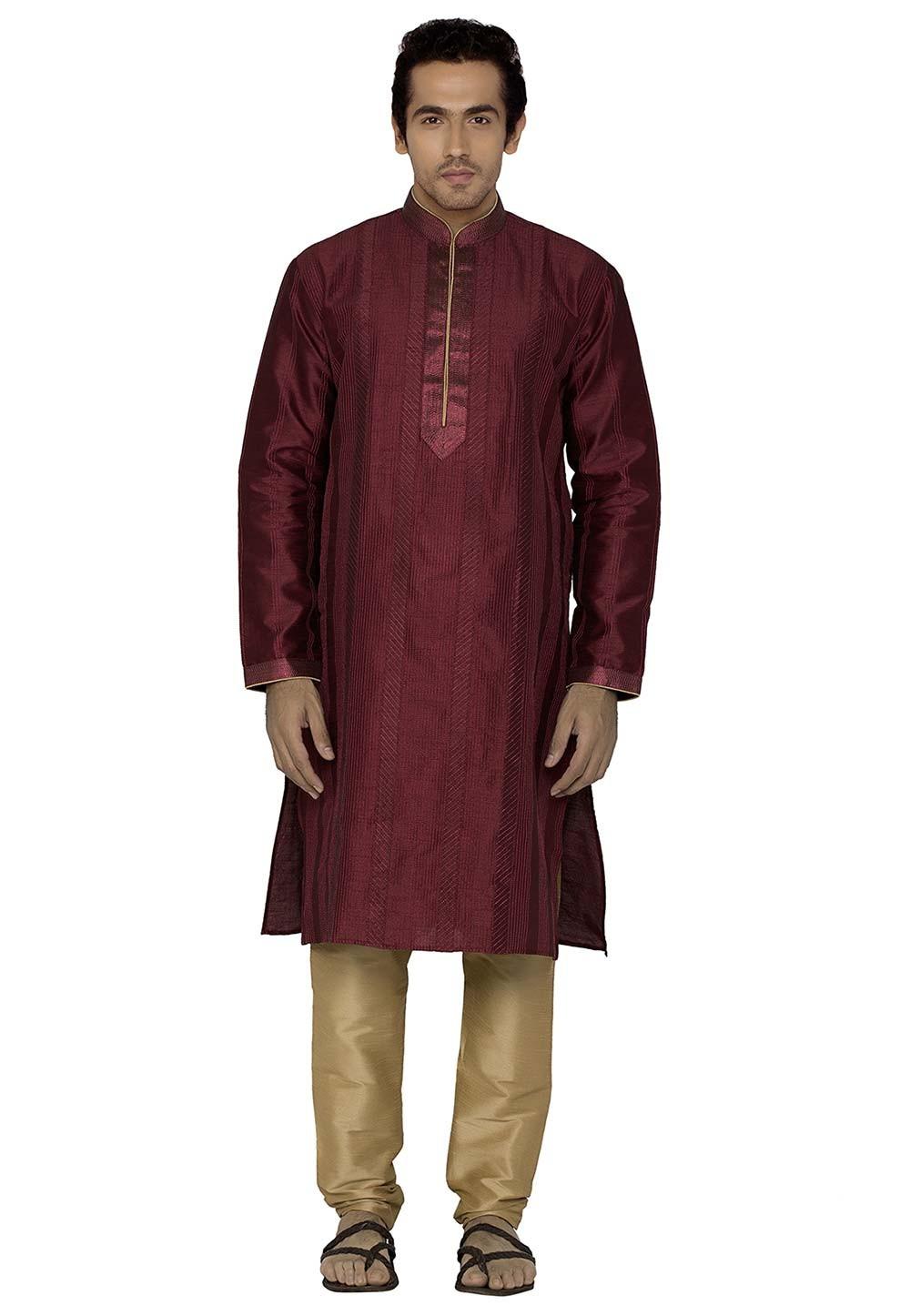 Maroon Colour Silk Kurta Pajama.