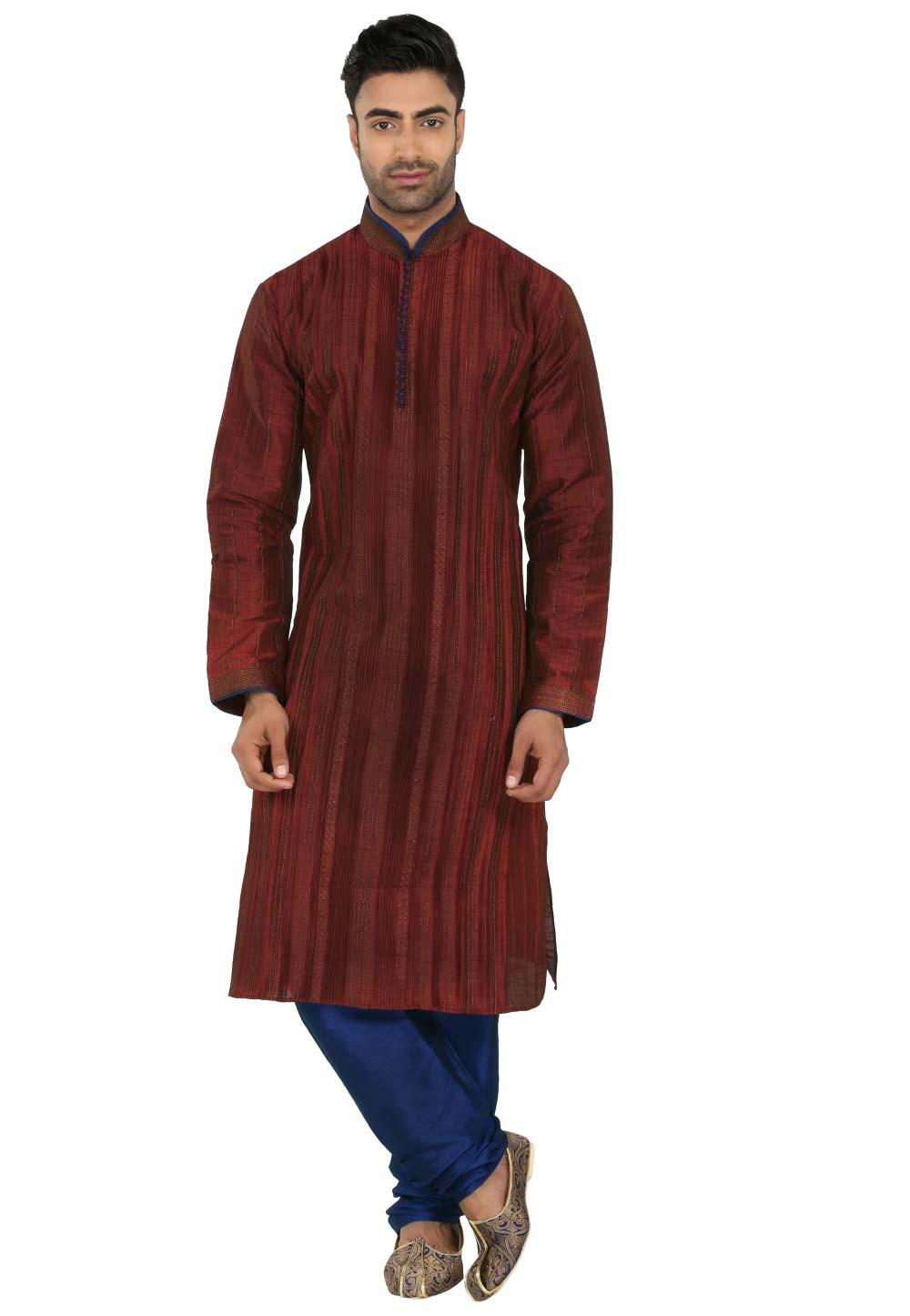 Maroon Colour Readymade Kurta Pajama.