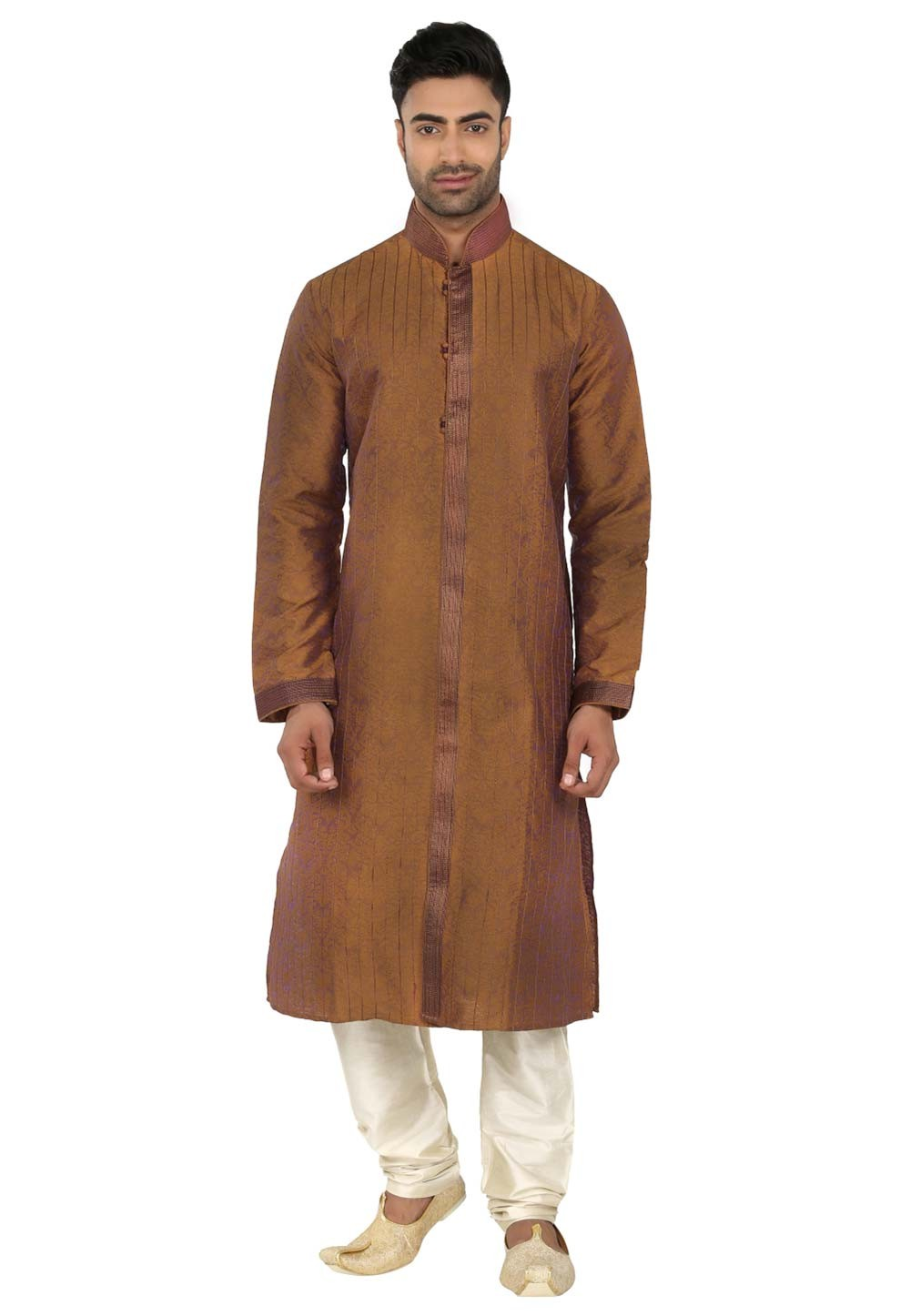 Yellow,Brown Colour Kurta Pjama.