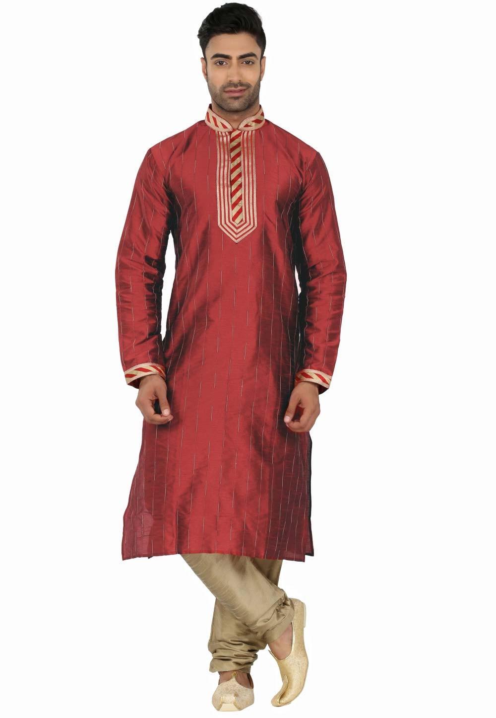 Red Colour Readymade Kurta Pajama.
