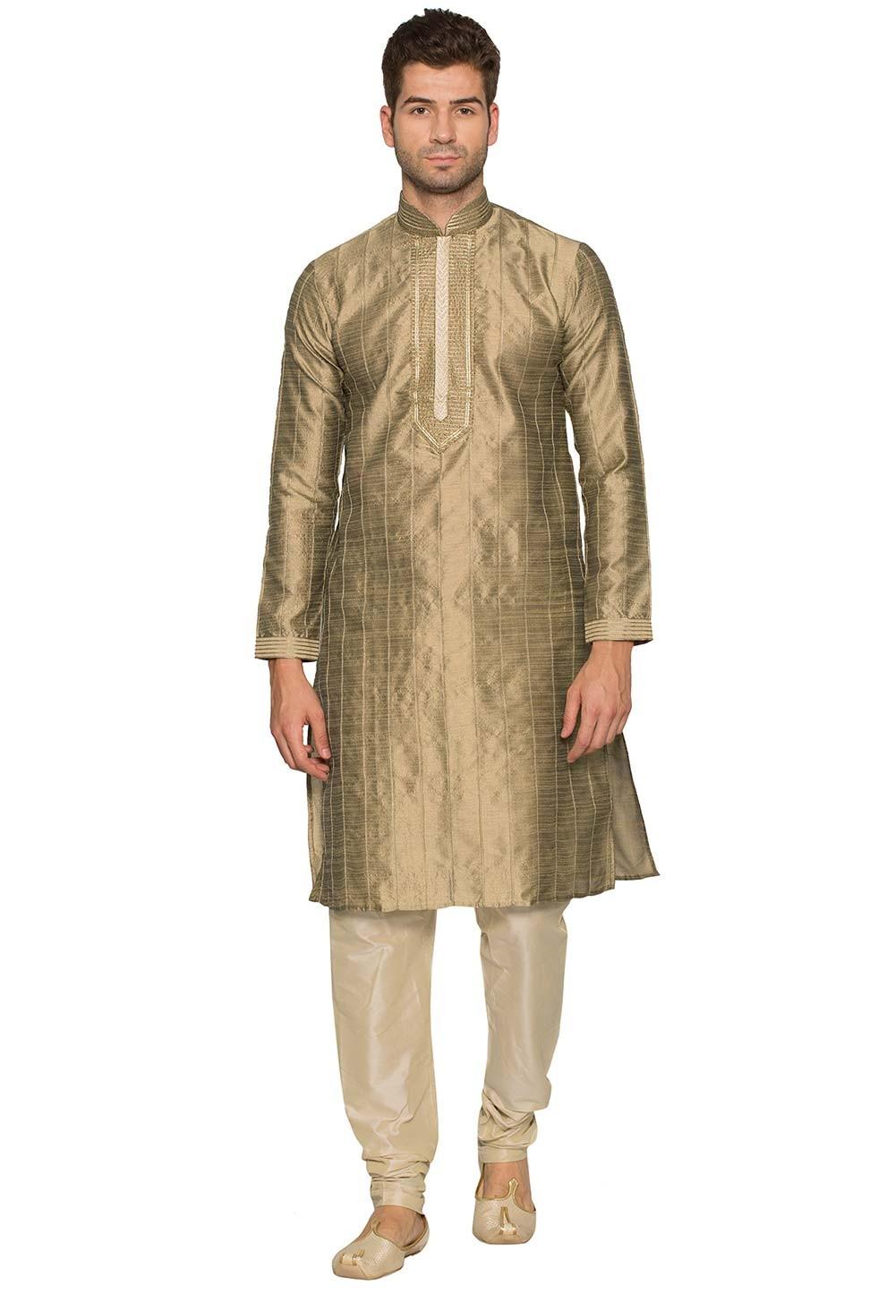 Golden Colour Kurta Pajama.