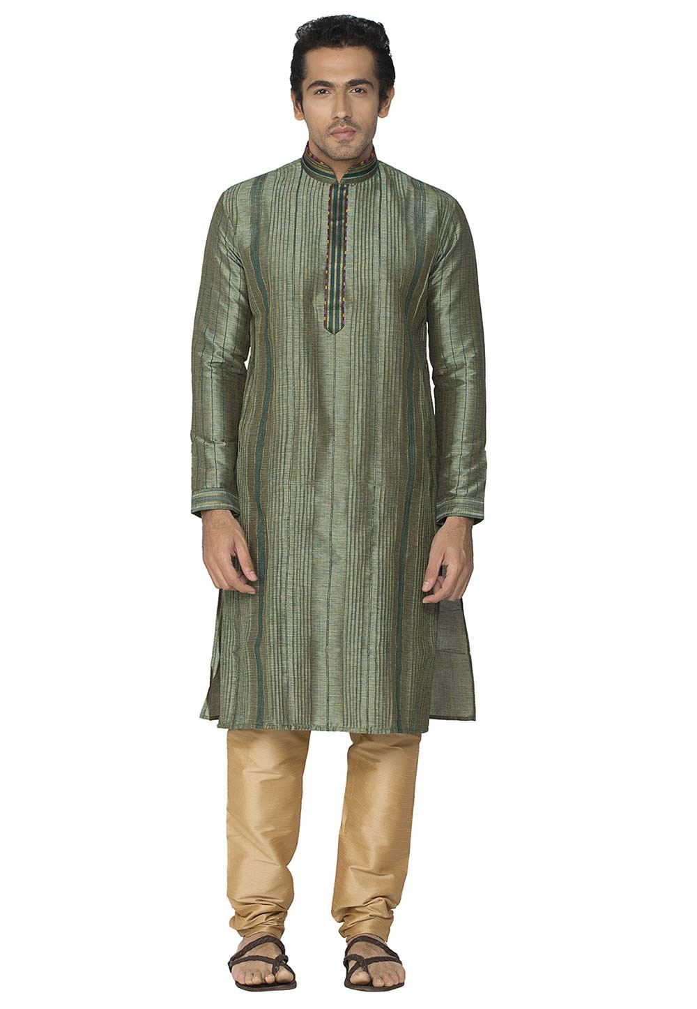 Green Colour Kurta Pyjama.