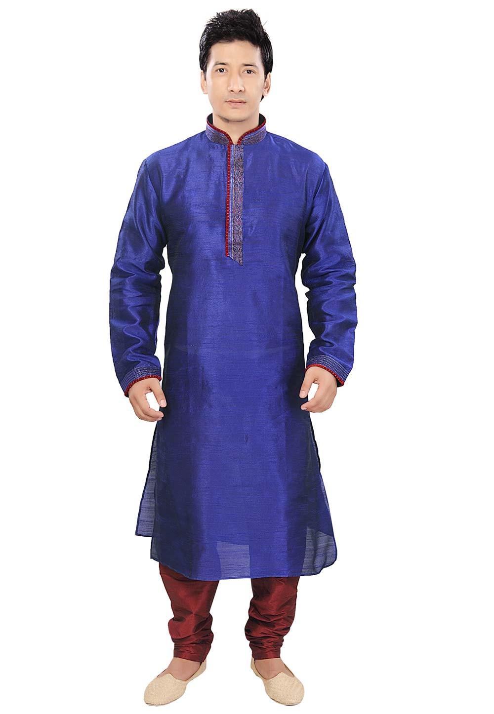 Blue Colour Readymade Kurta Pajama.