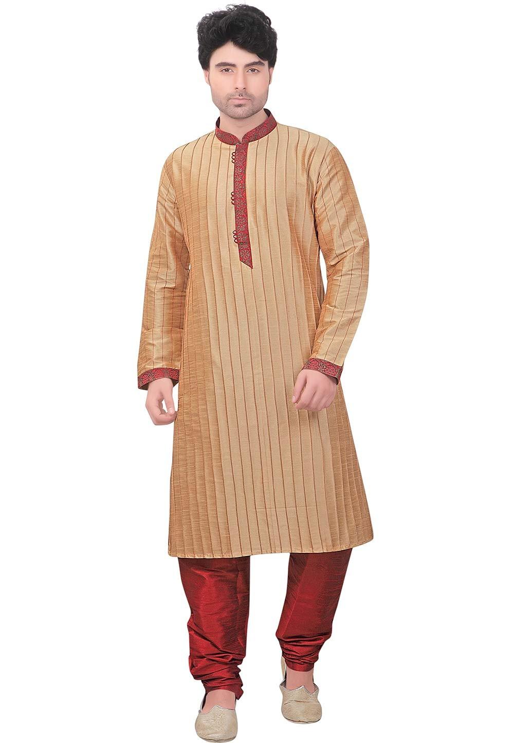 Beige Colour Kurta Pajama.