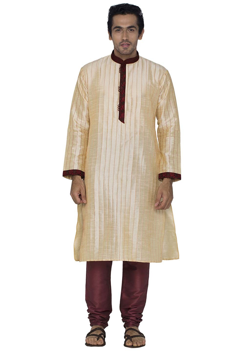 Cream Colour Silk Kurta Pajama.