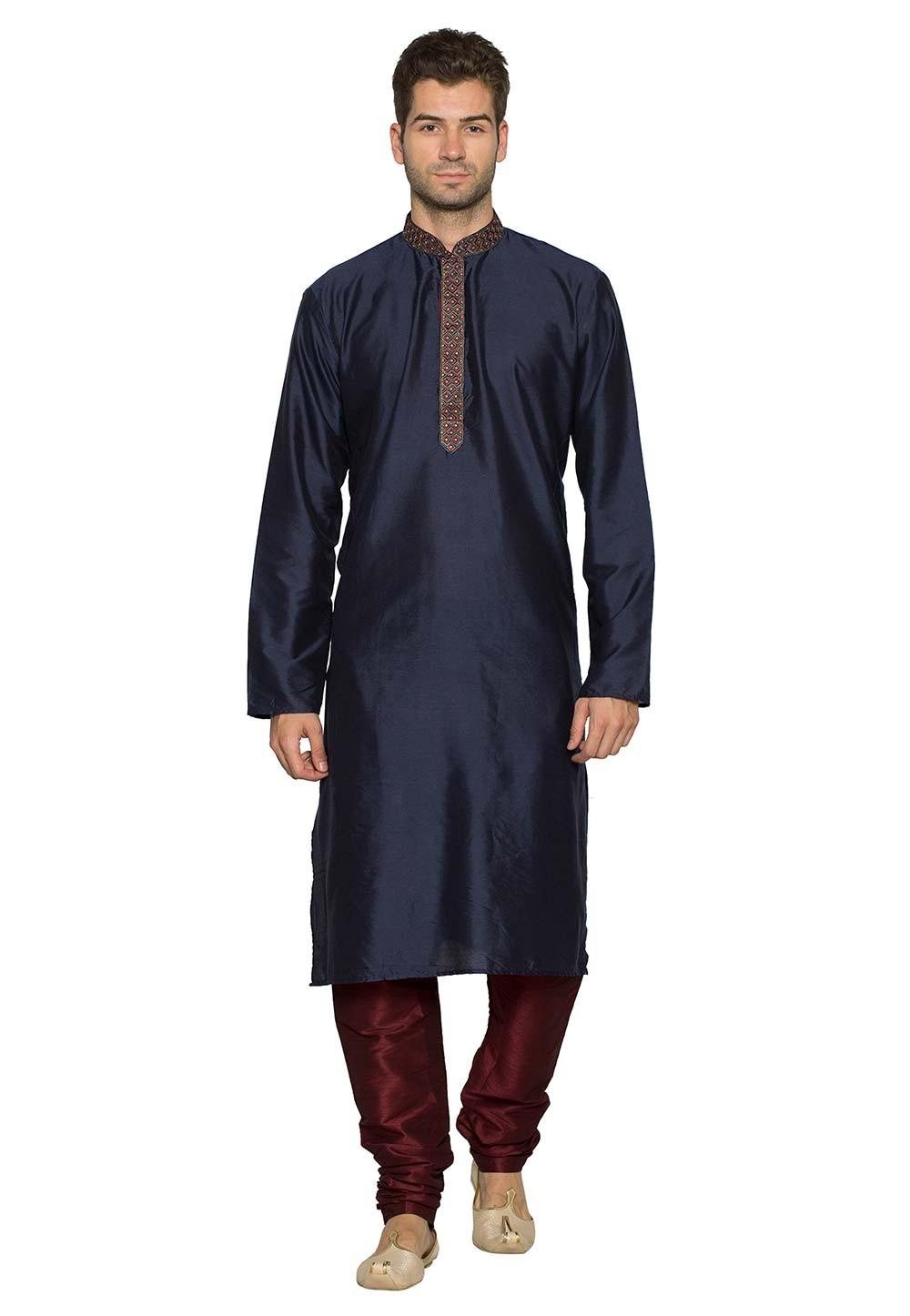 Blue Colour Party Wear Kurta Pyjama.