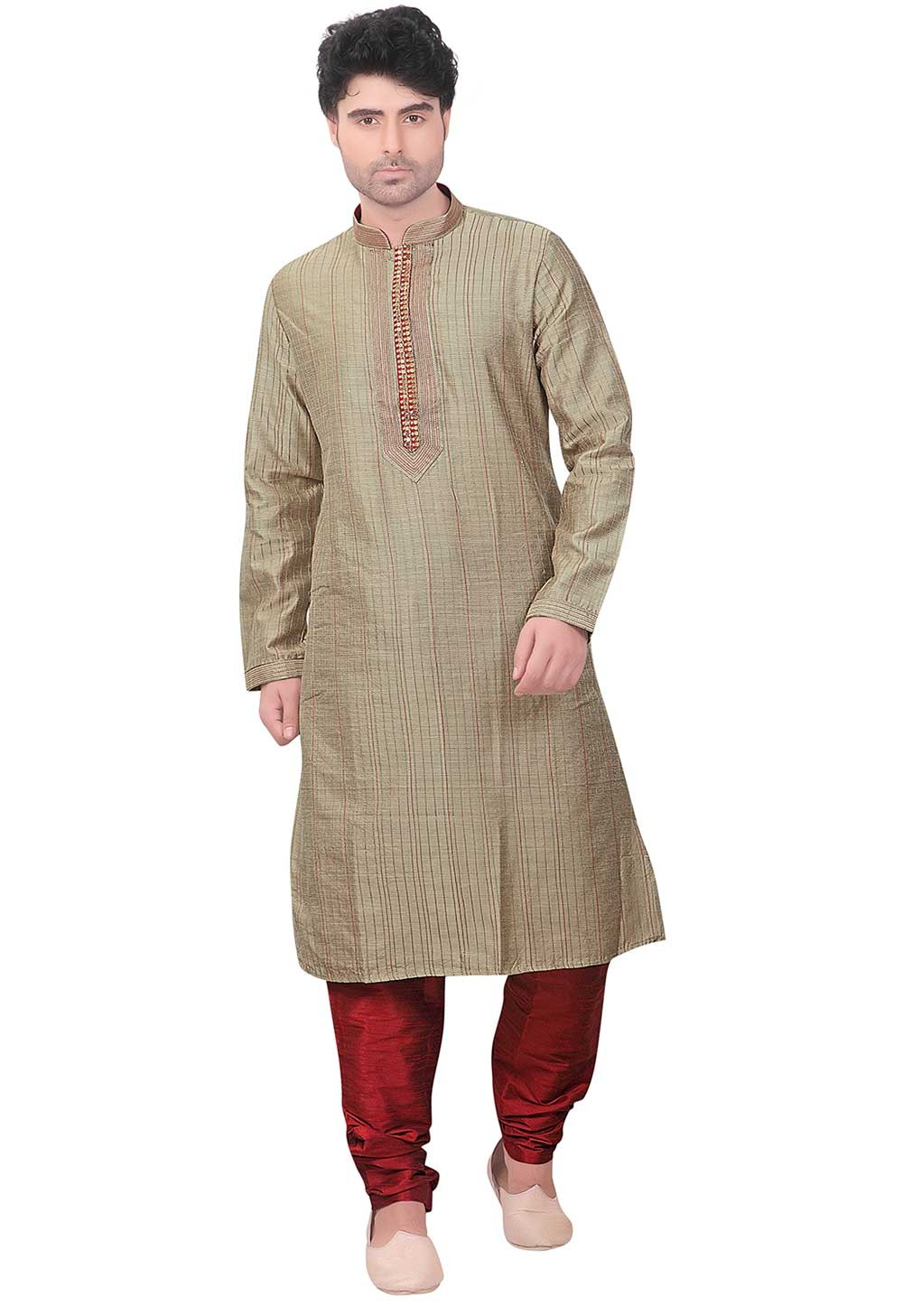 Readymade: Buy Kurta Pajama Online in Beige Colour