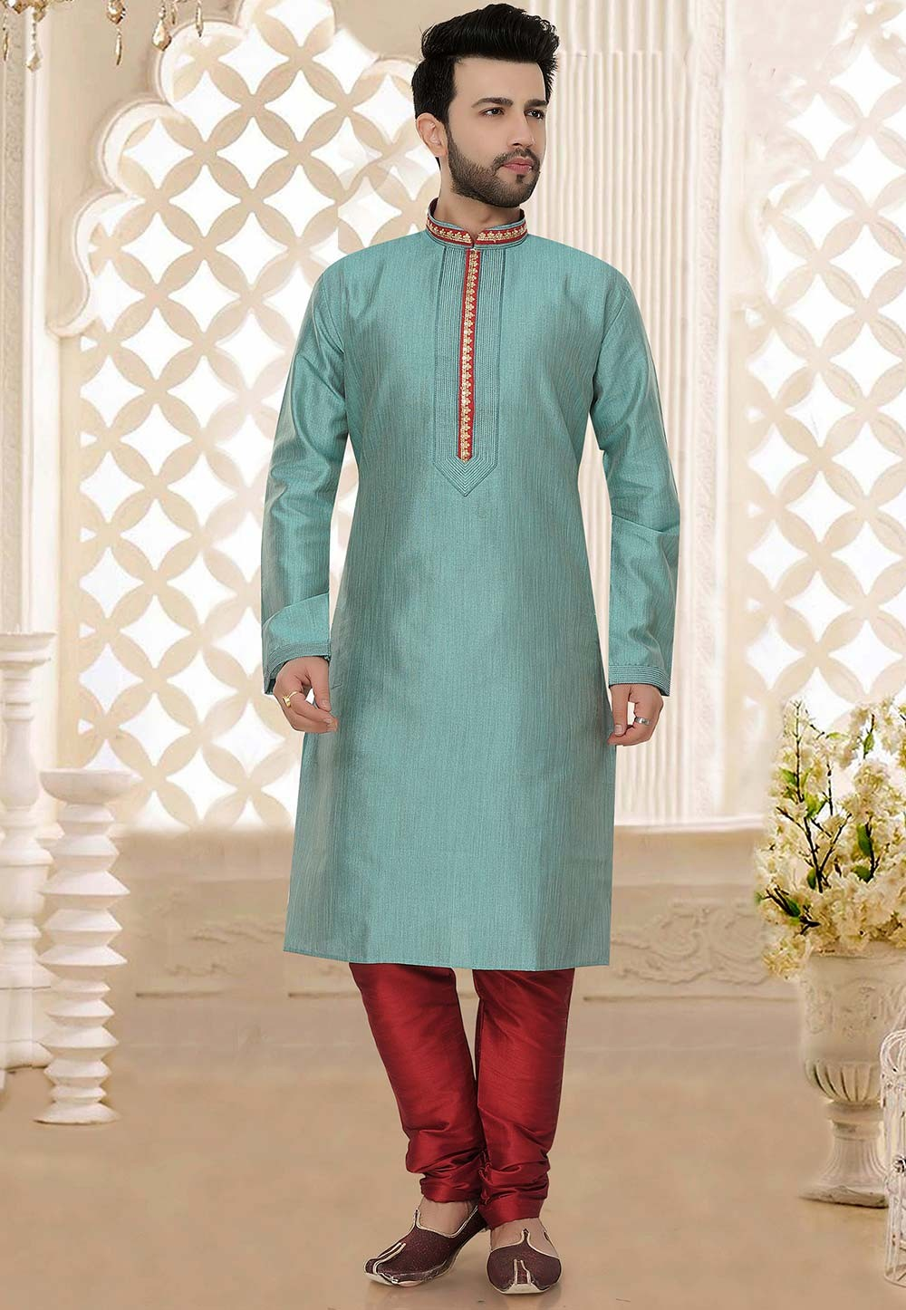 Silk: Buy Designer Kurta Pajama Online in Blue Colour