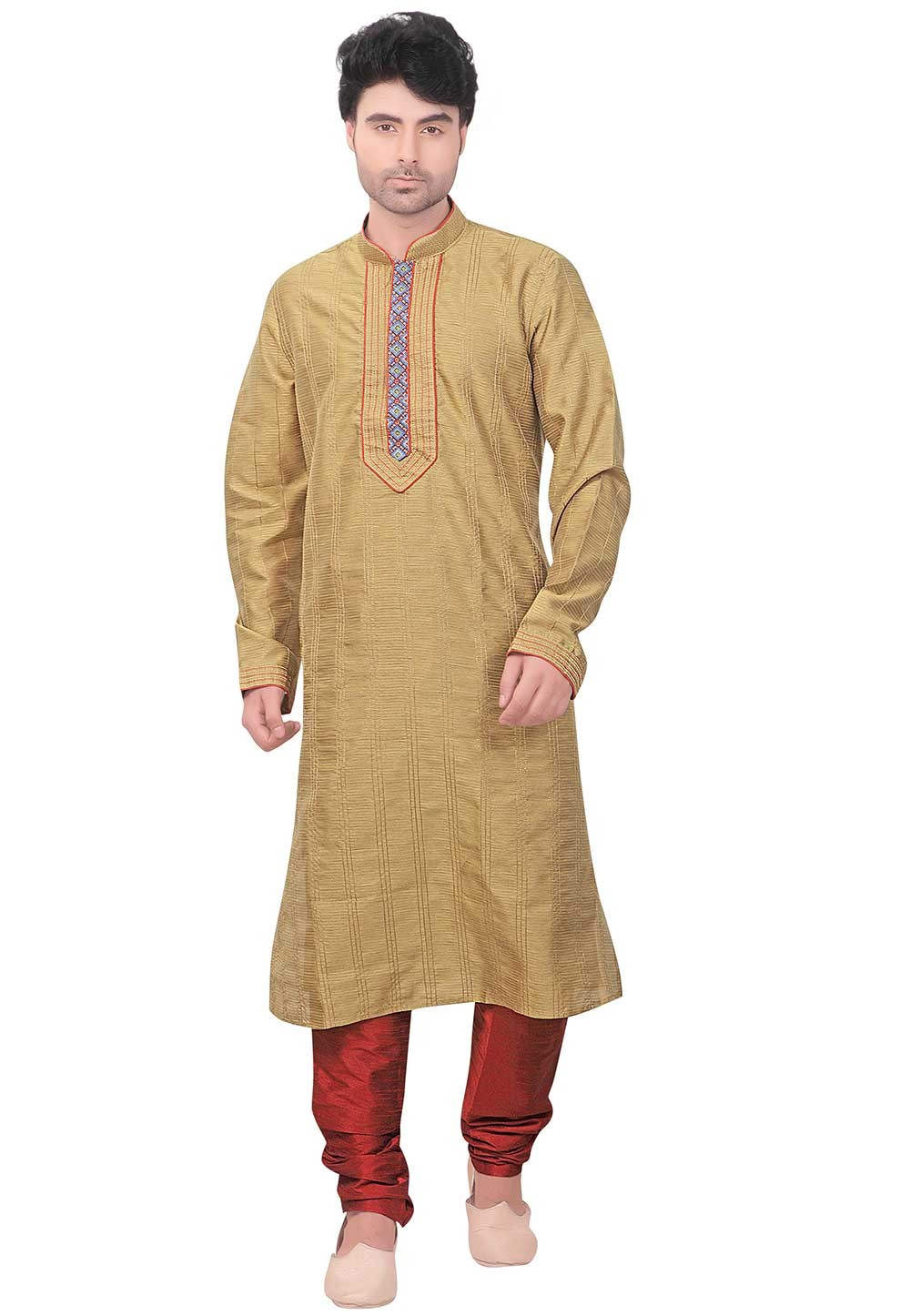 Designer: Buy Kurta Pyjama Online in Golden Colour
