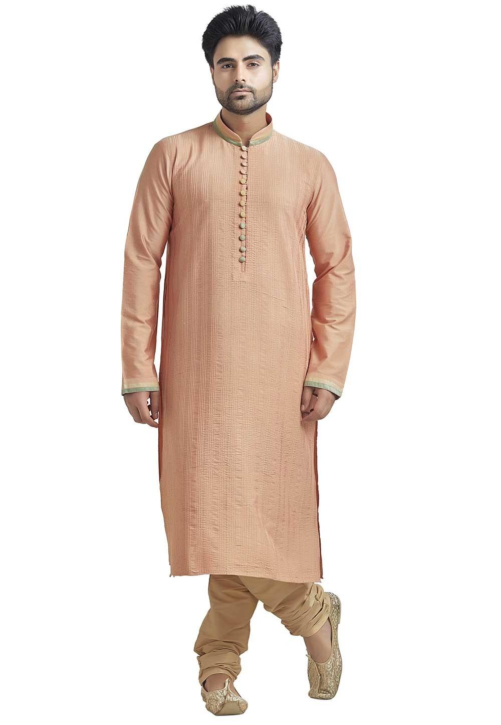 Peach Colour Readymade Indian Kurta Pajama for Mens
