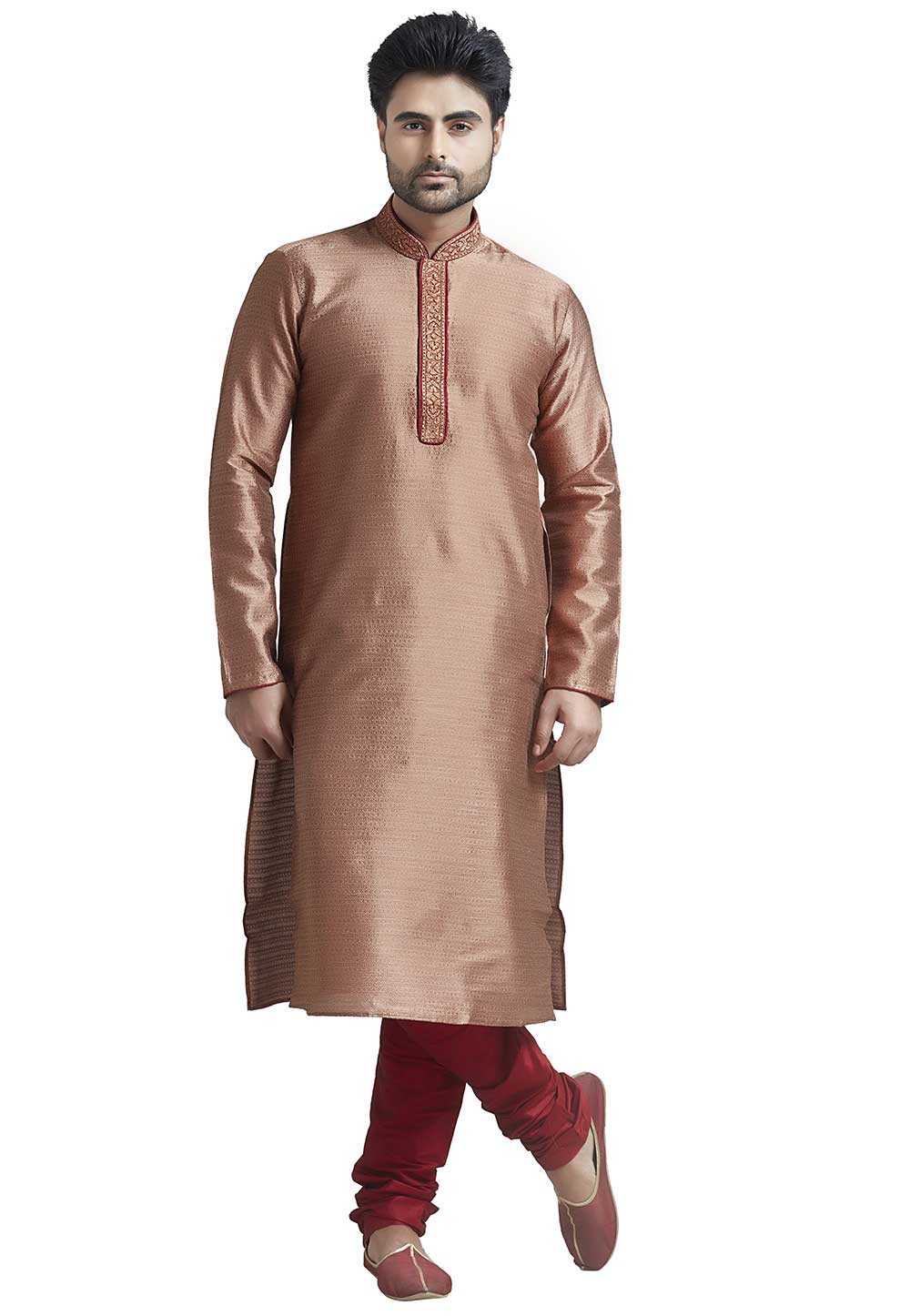 Rust Colour Jacquard Indian Kurta Pajama for Mens