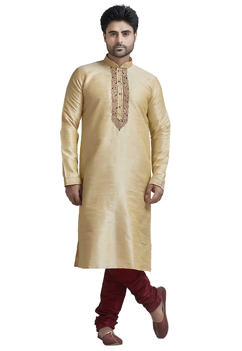 Designer: Buy Kurta Pyjama Online in Cream Colour