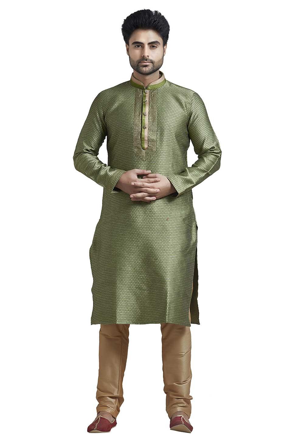 Readymade: Buy Kurta Pyjama Online in Green Colour