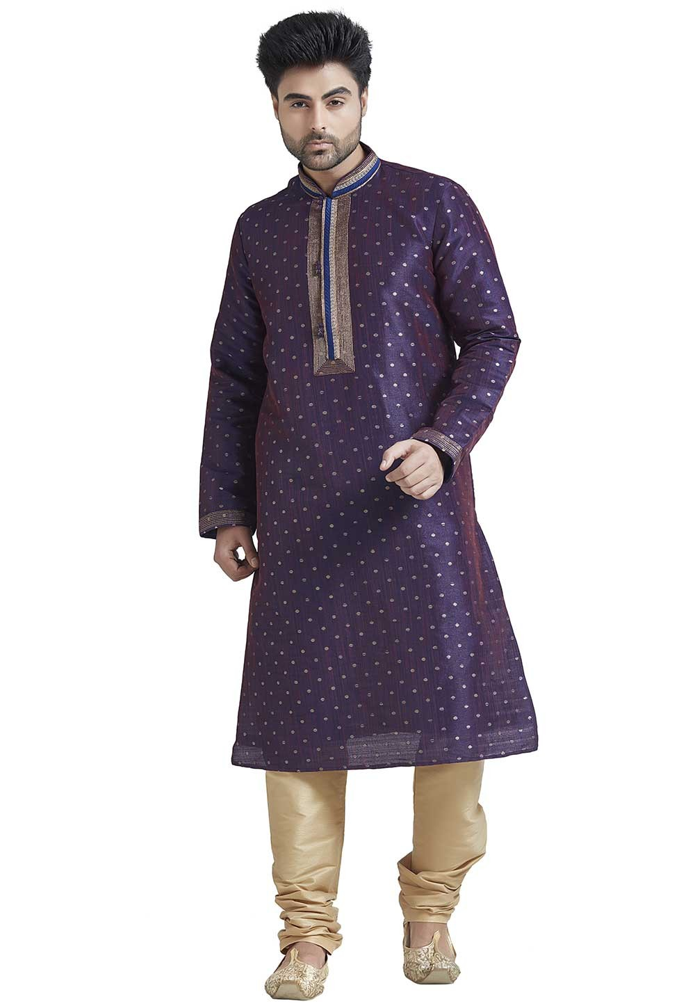 Purple Colour Party Wear Indian Kurta Pajama for Mens