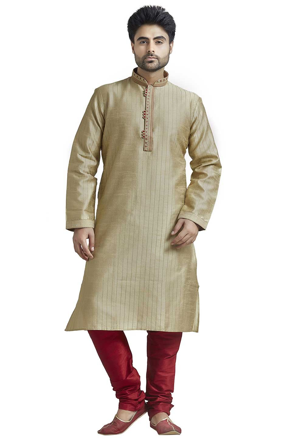 Beige Colour Readymade Kurta Pyjama.