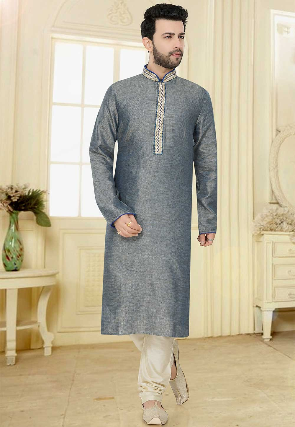 Plain: Buy Designer Kurta Pajama Online in Grey Colour