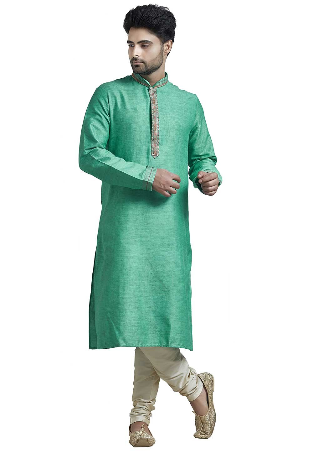 Buy Designer Kurta Pajama Online in Green Colour
