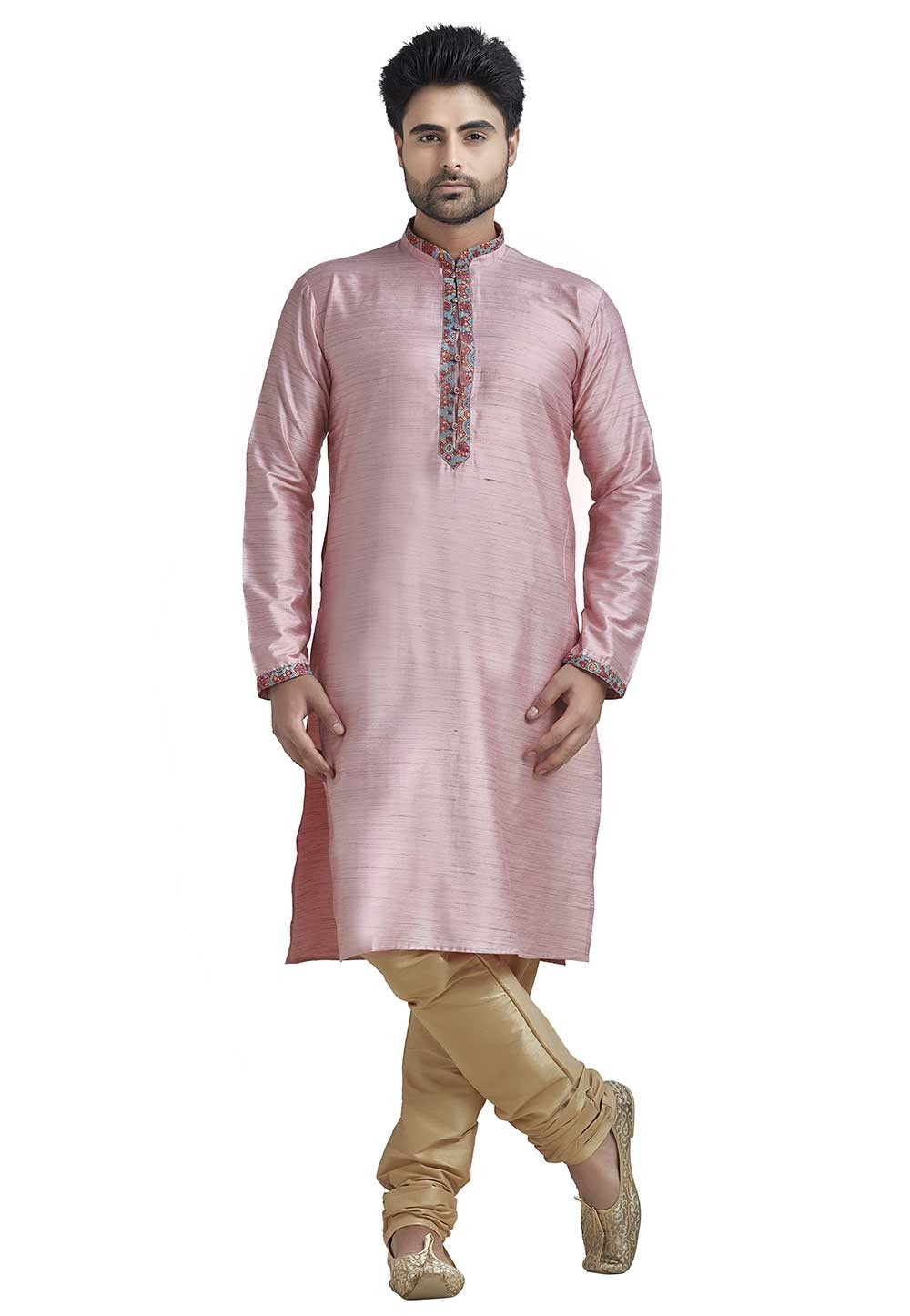 Pink Colour Indian Kurta Pajama for Mens