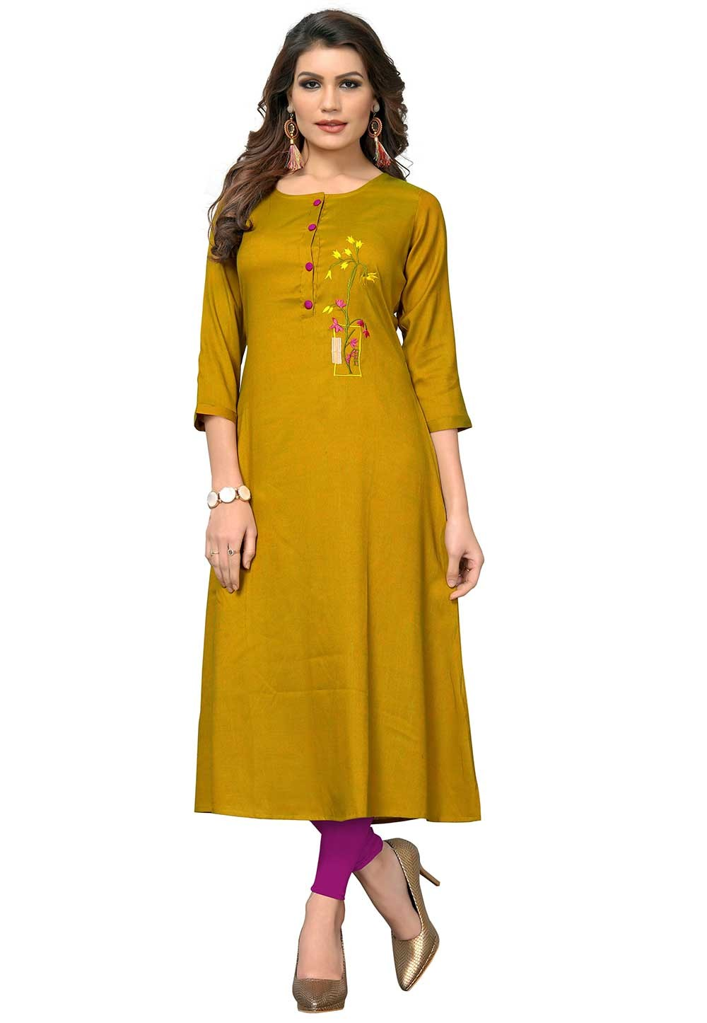 Yellow Colour Casual kurtis online