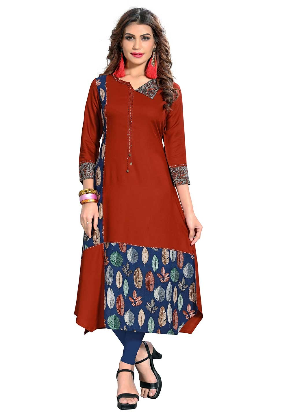Buy Maroon Colour Indian kurtis