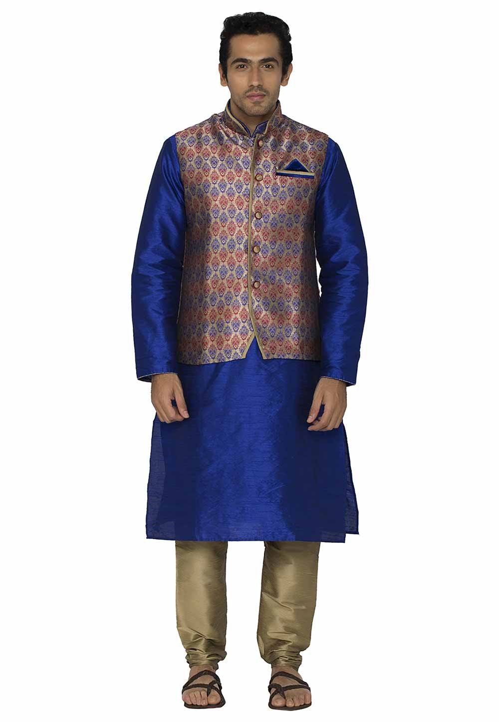 Blue,Red Colour Kurta Pajama With Jacket.