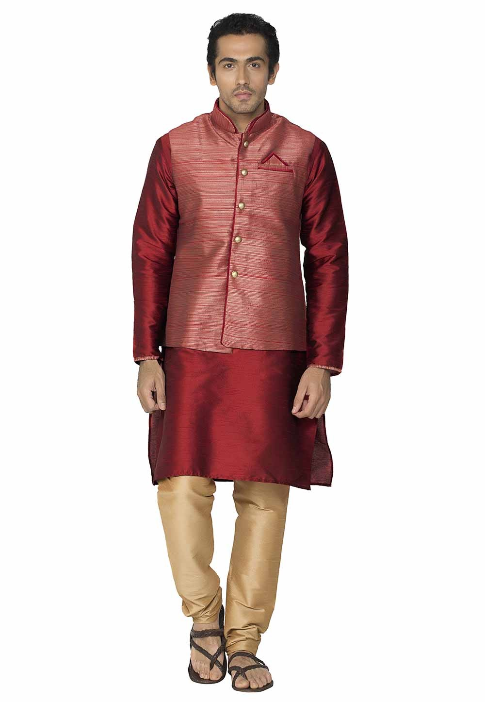 Red Colour Kurta Pajama With Jacket.