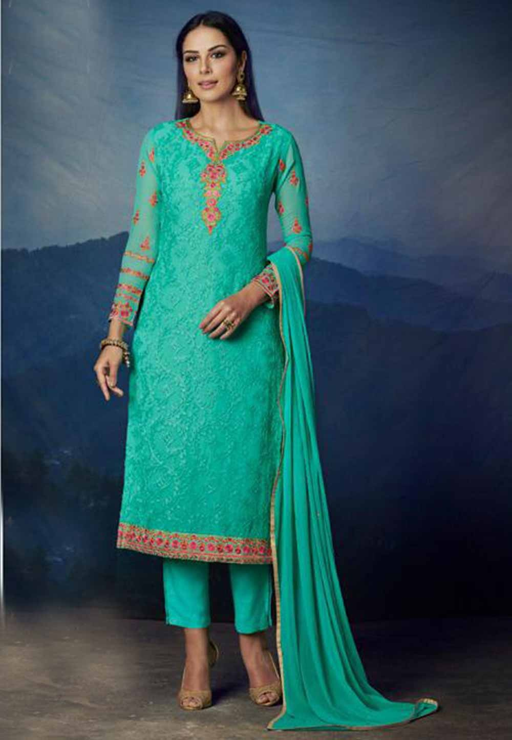 Turquoise Colour Georgette Party Wear Salwar Kameez