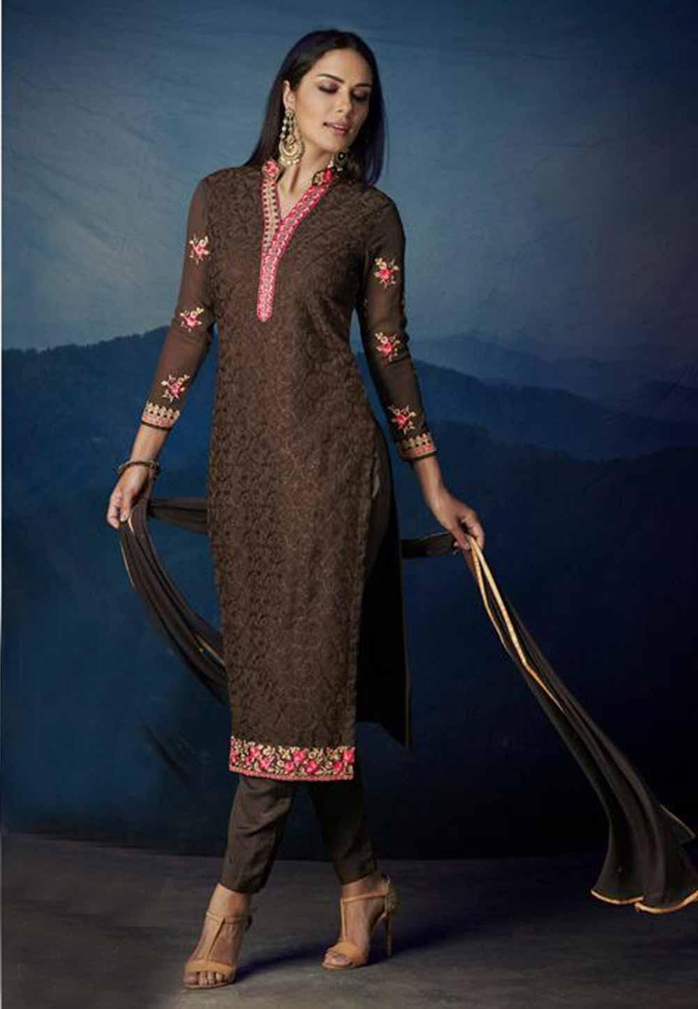 Brown Colour Georgette Party Wear Salwar Kameez