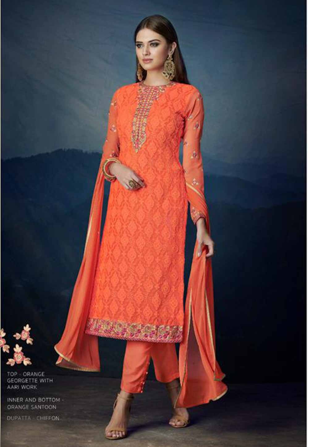 Orange Colour Party Wear Salwar Kameez