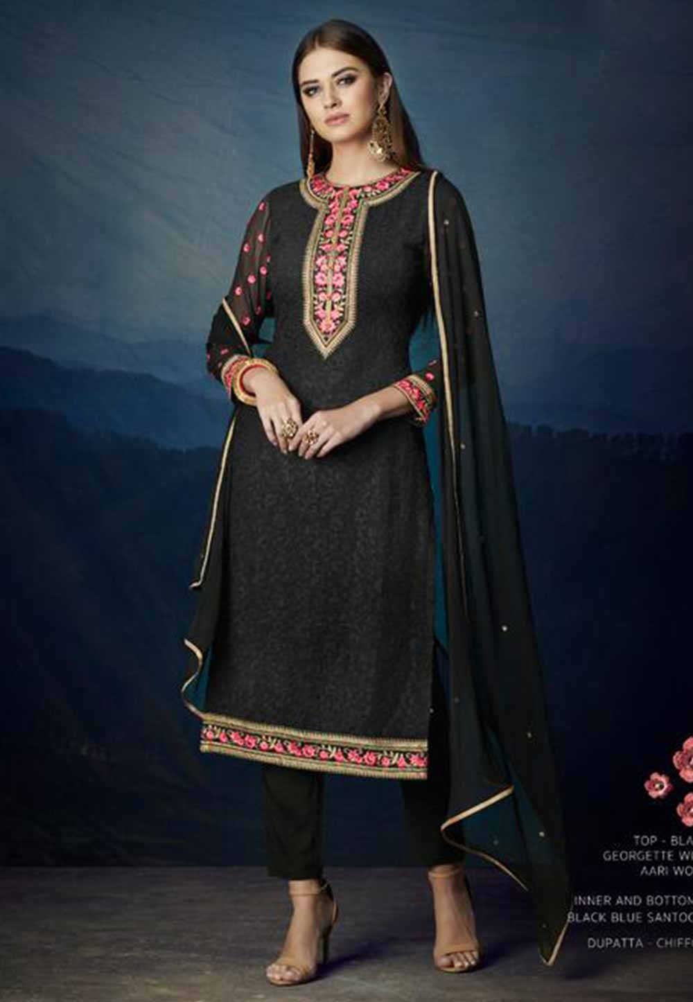 Black Colour Party Wear Salwar Kameez