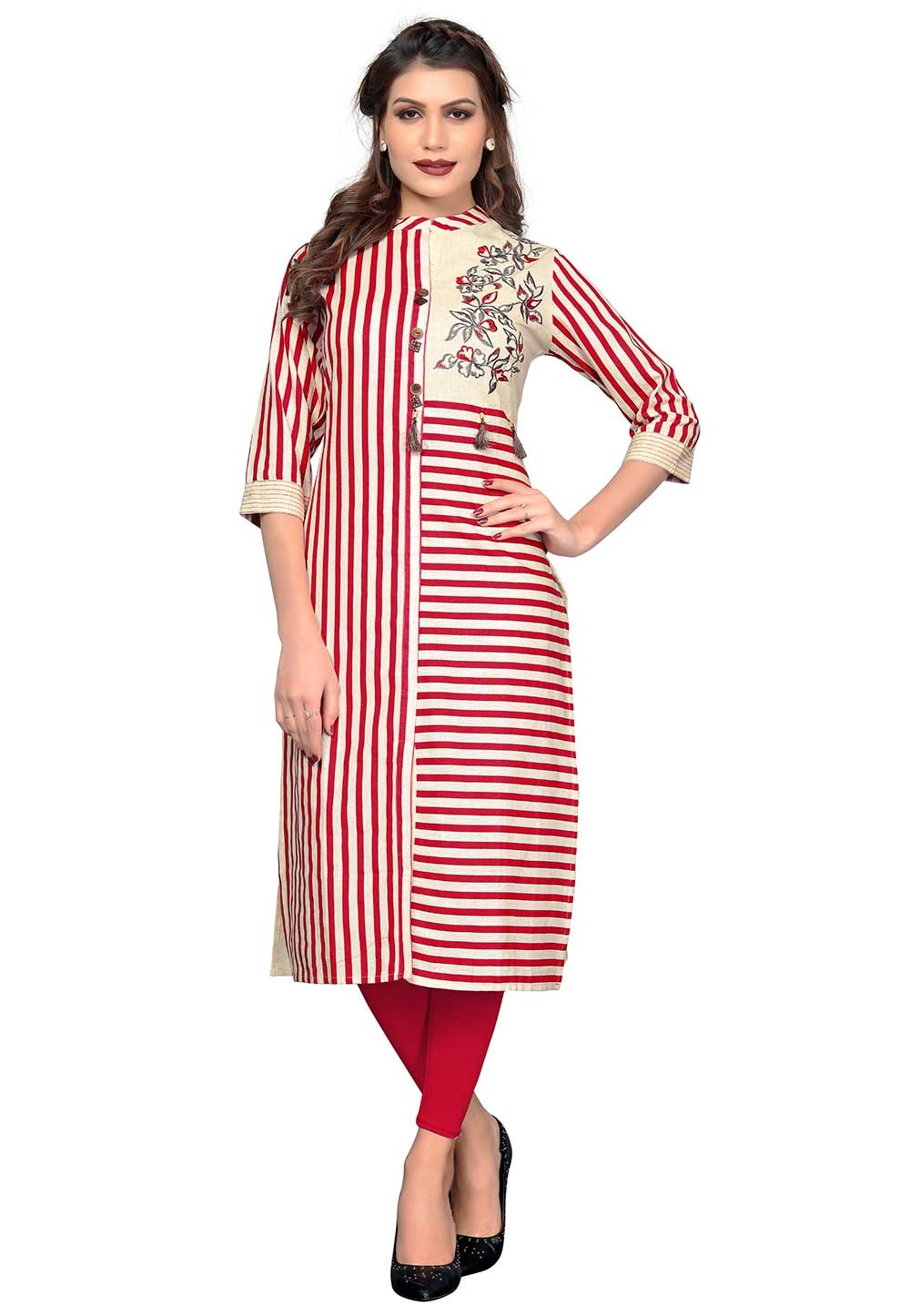 Buy Red,Off White Colour Indian kurtis
