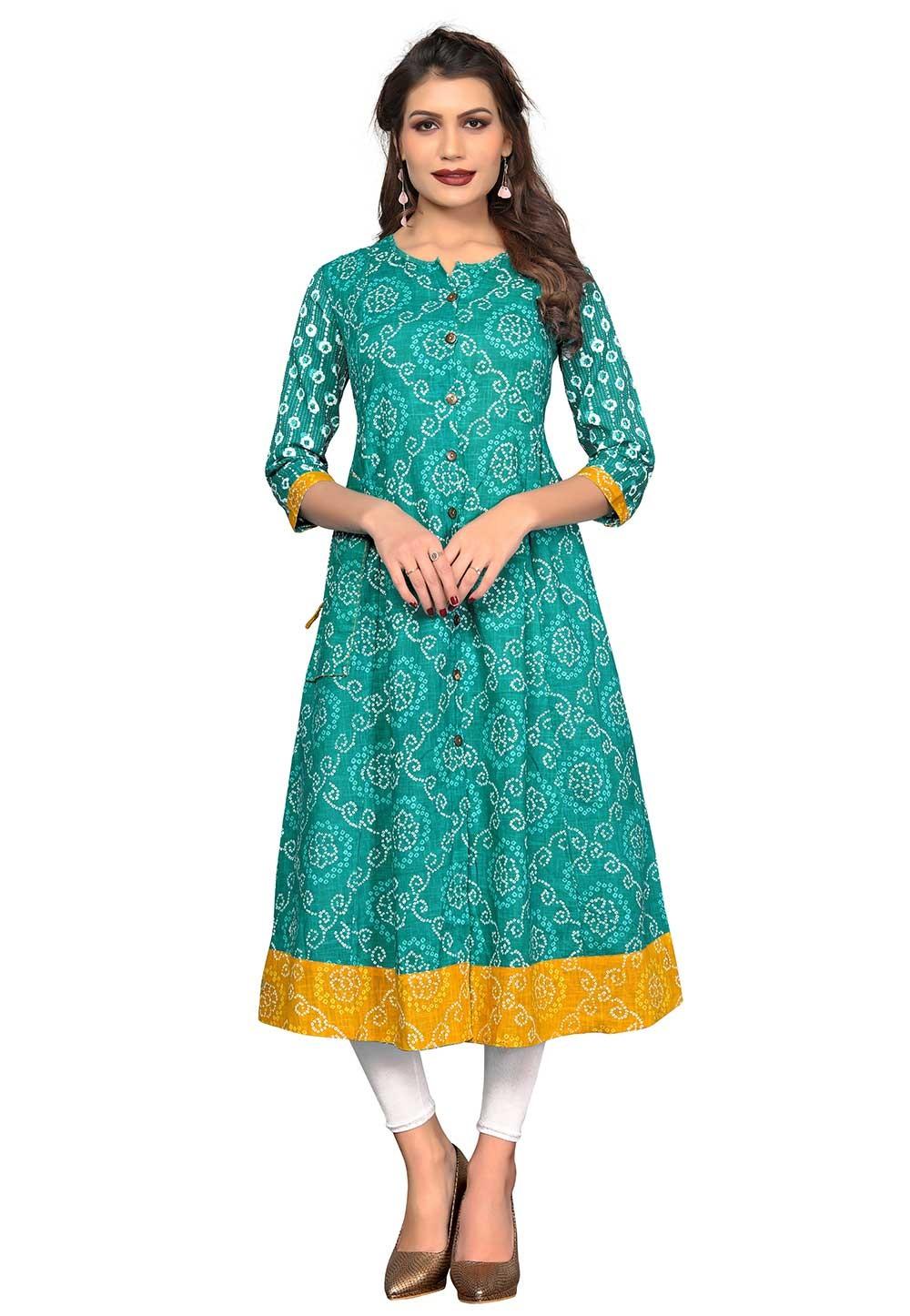 Buy Green Colour Indian kurtis Online