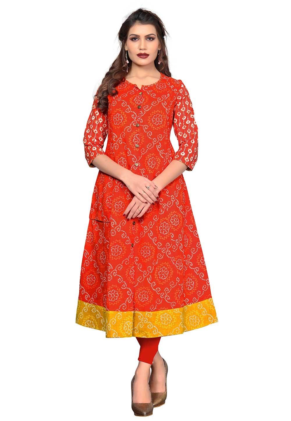 Buy Orange Colour Readymade Indian kurtis