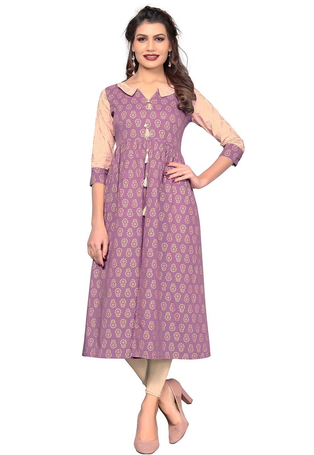 Buy Purple Colour Cotton Indian kurtis