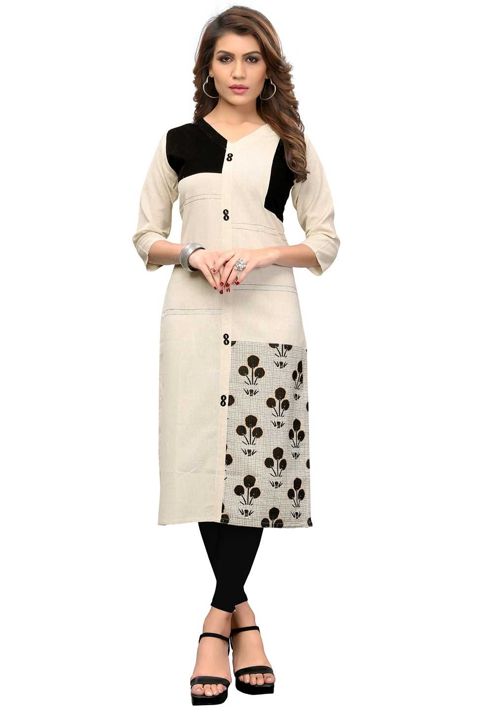 Buy Off White Colour Indian kurtis Online