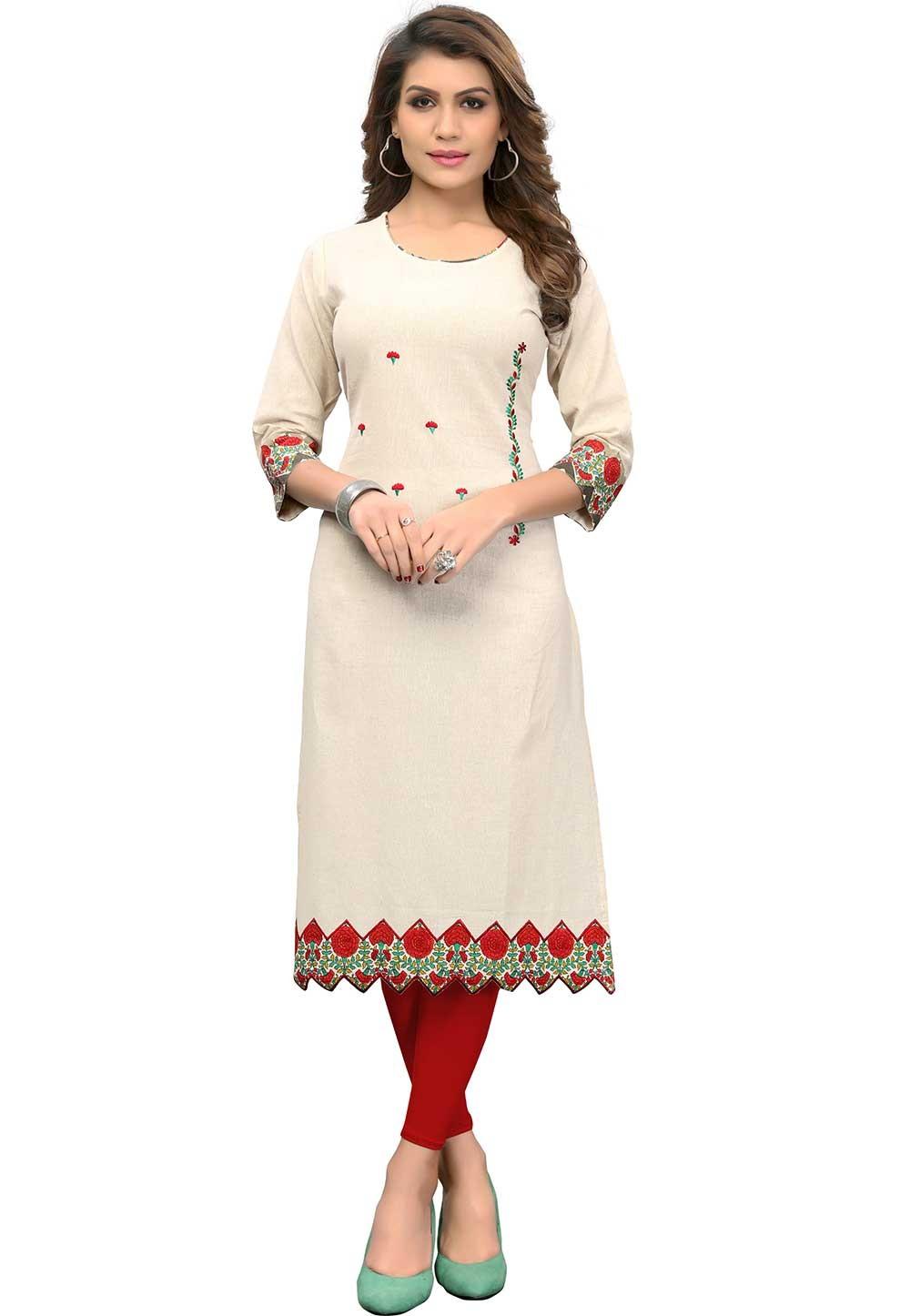 Buy Off White Colour Indian kurtis