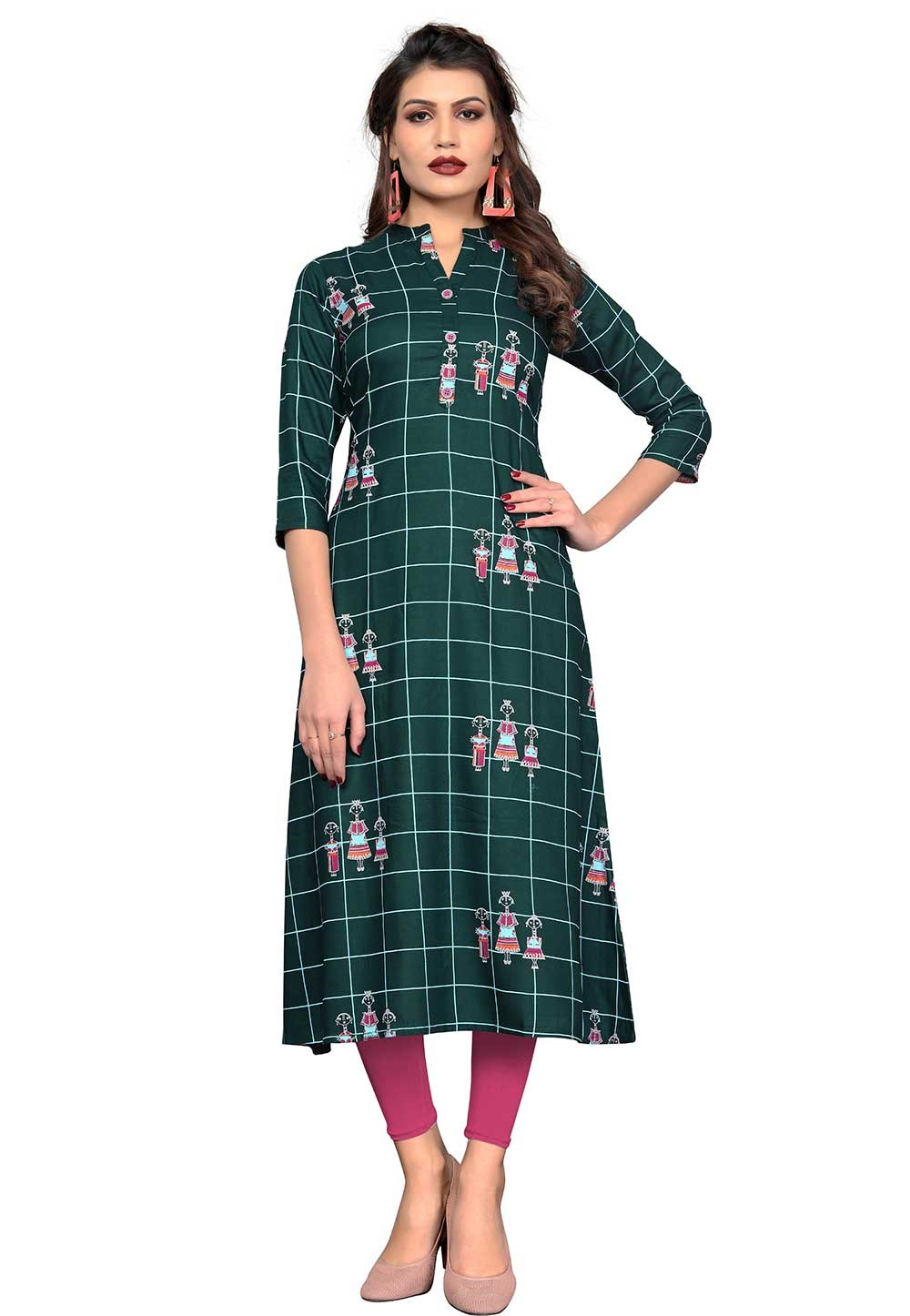 Buy Green Colour Cotton Indian kurtis